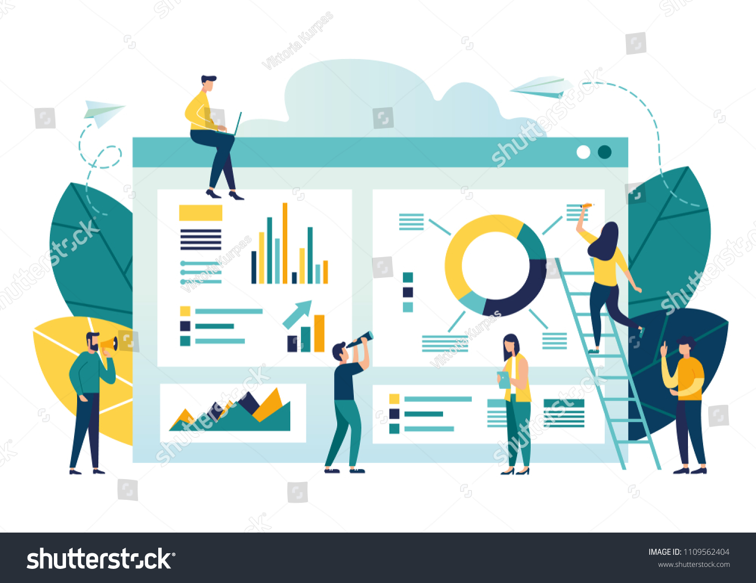 vector illustration of business, office workers are studying the infographic, the analysis of the evolutionary scale #1109562404