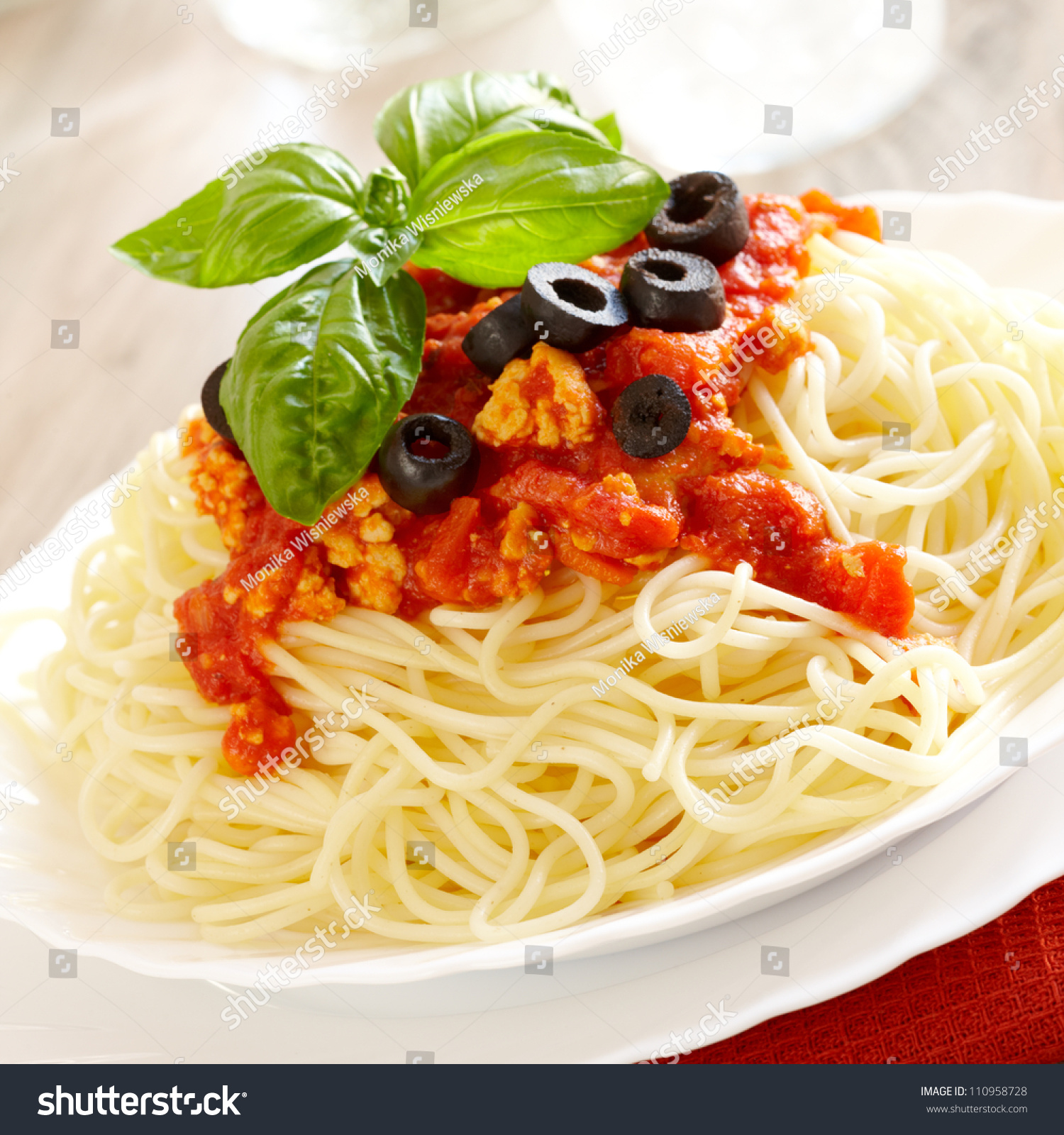 original italian spaghetti bolognese basil black stock photo 110958728 shutterstock. Black Bedroom Furniture Sets. Home Design Ideas