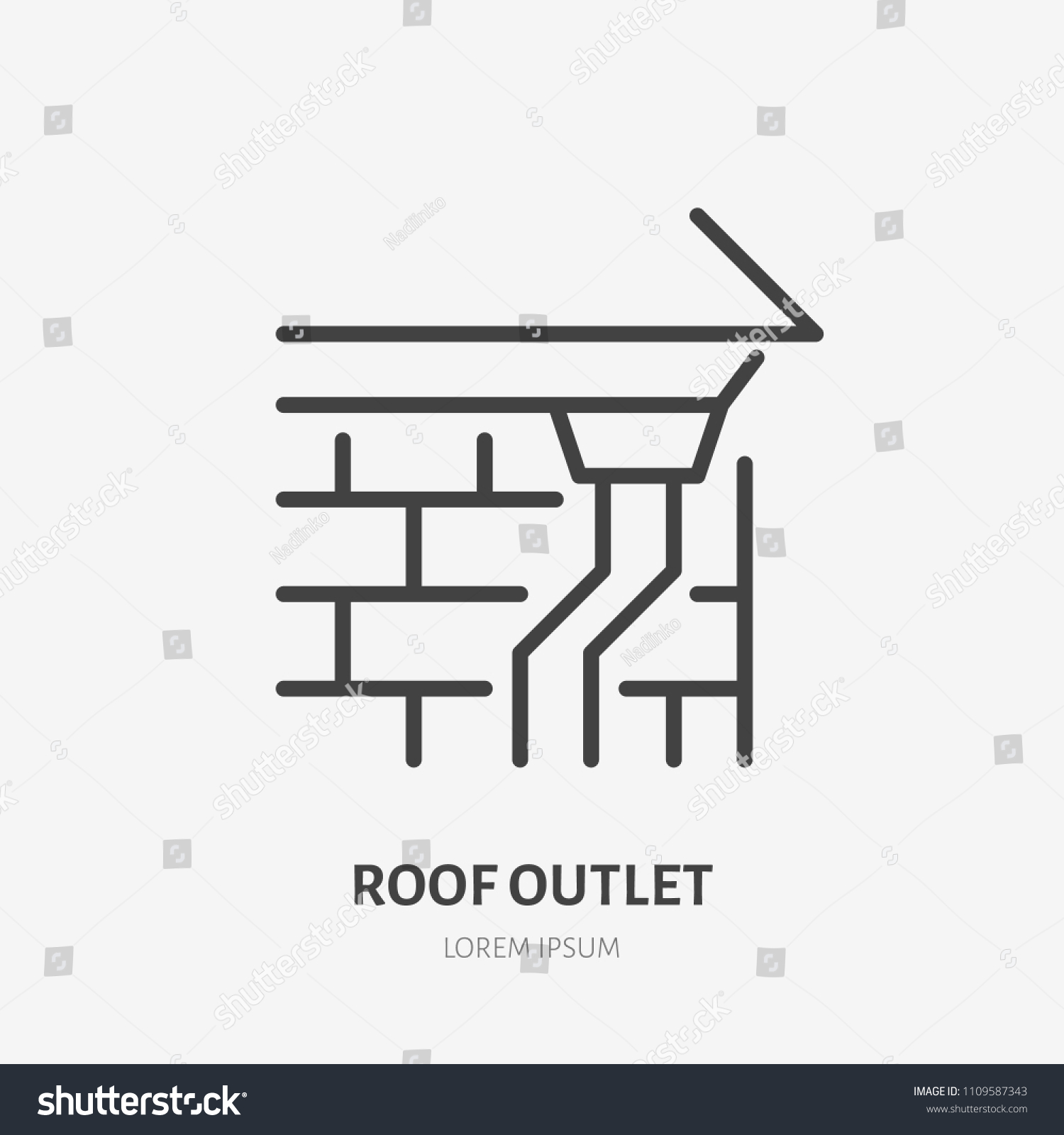 8a8936f5733c Roof outlet, drain flat line icon. House construction sign. Thin linear logo  for.