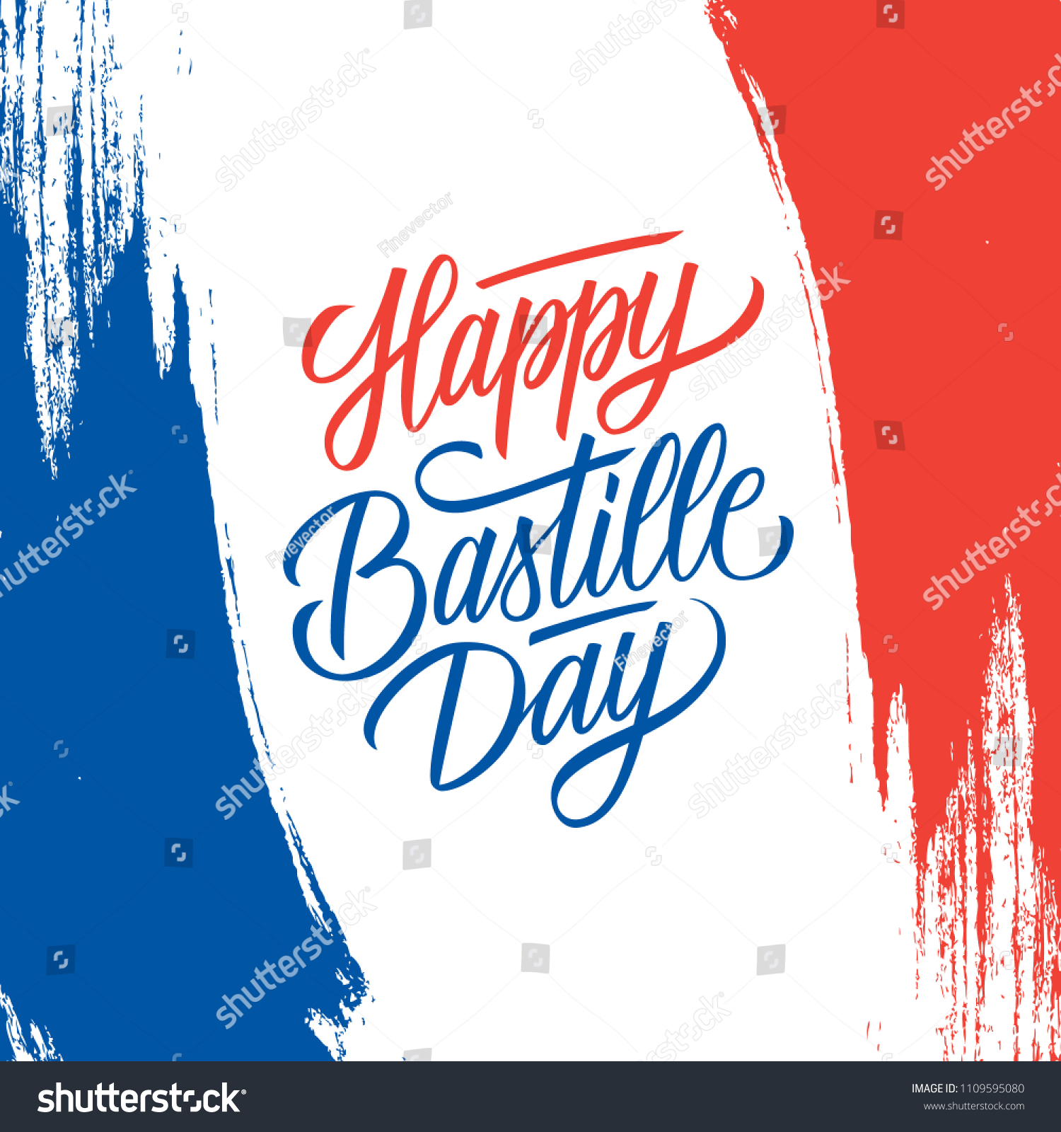 French National Day Greeting Card Brush Stock Vector Royalty Free