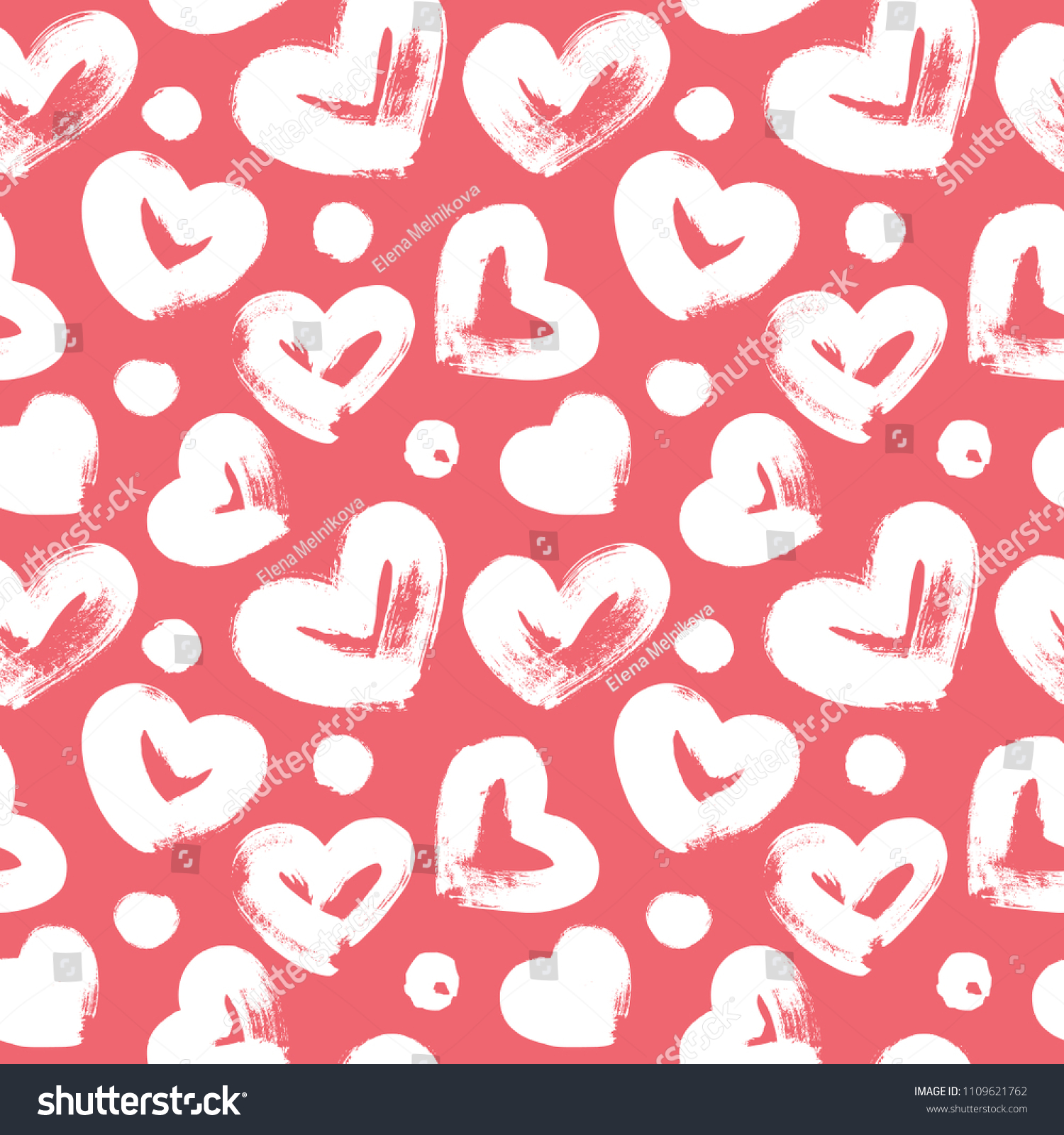 Seamless Pattern With Hand Drawn Heart Hearts Painted Dry Brush