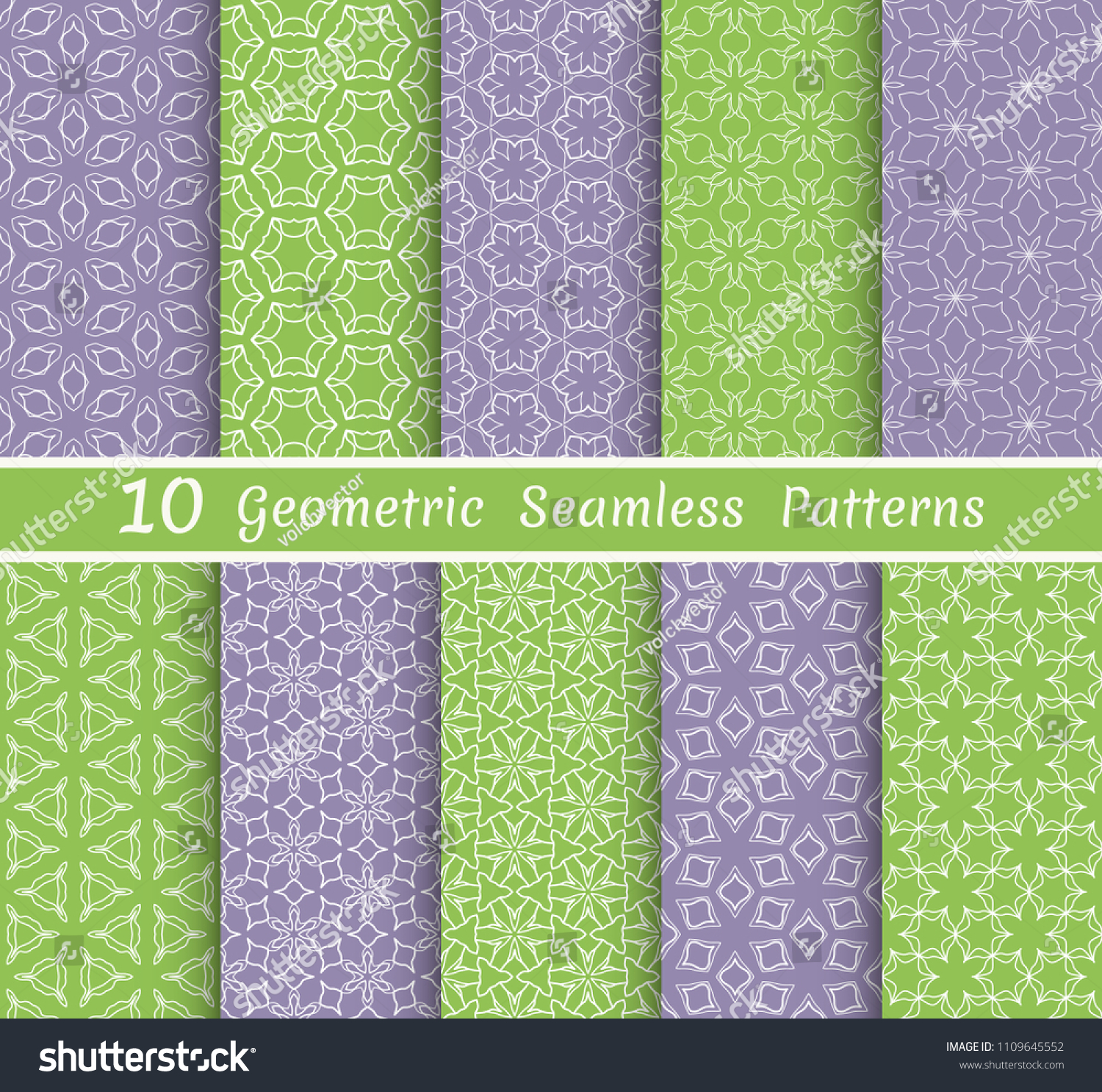 Set Of Seamless Line Patterns Colorful Geometric Backgrounds Collection Endless