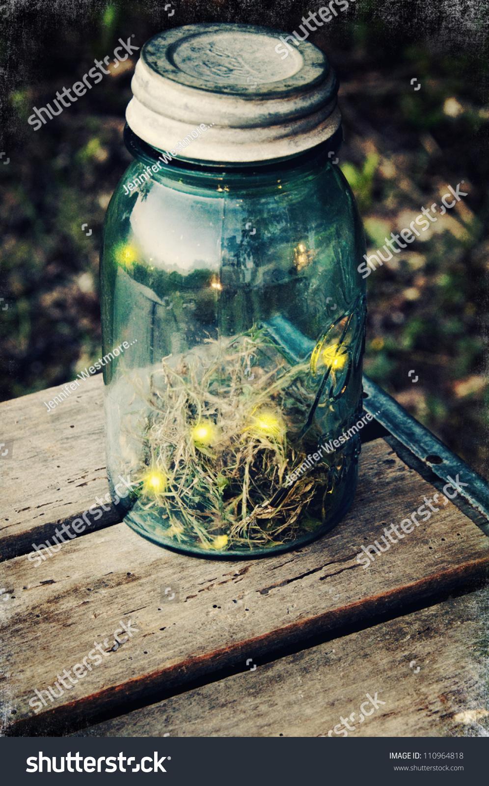 fireflies in a jar stock photo 110964818 shutterstock. Black Bedroom Furniture Sets. Home Design Ideas