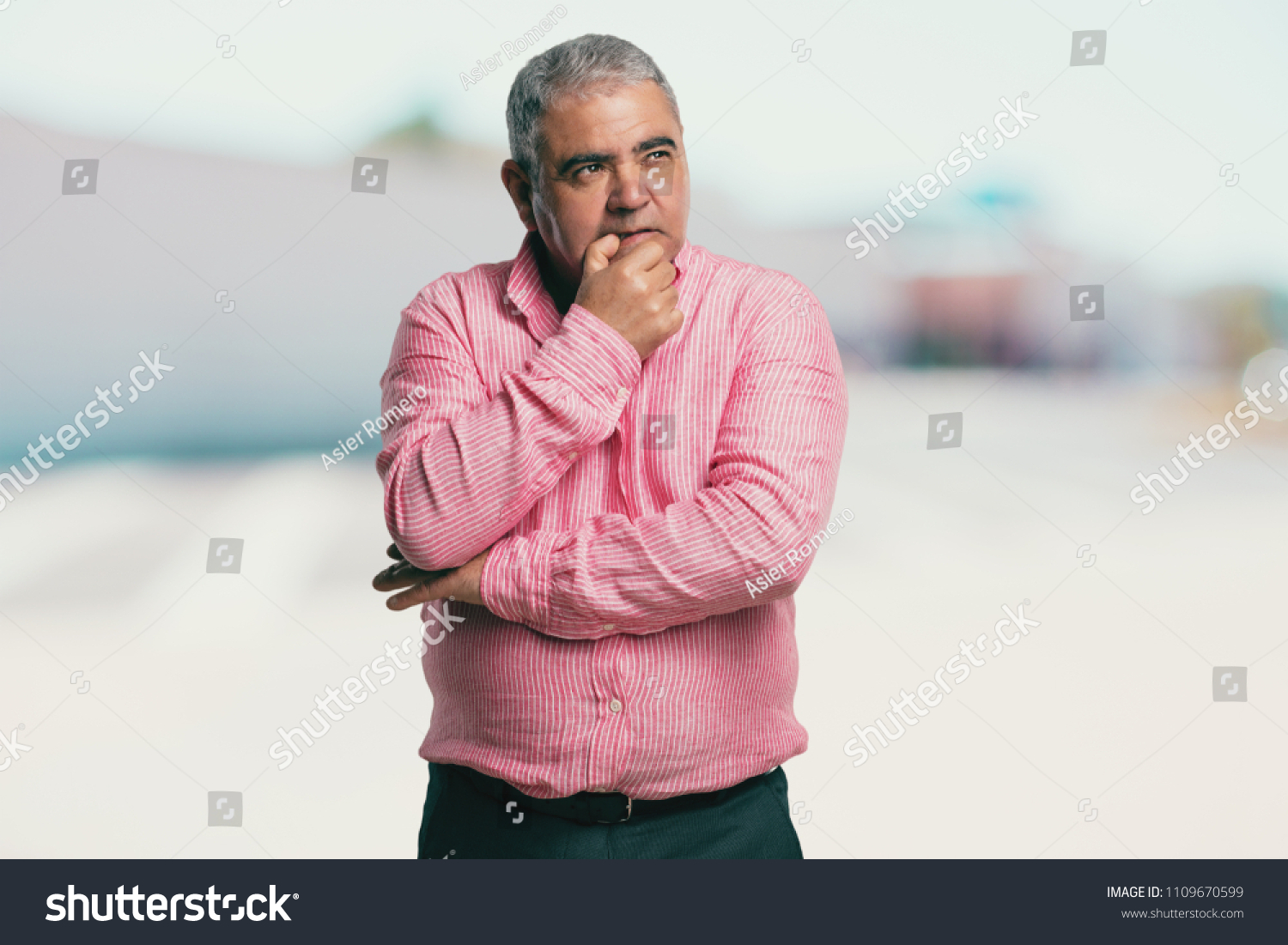 Middle Aged Man Biting Nails Nervous Stock Photo (Royalty Free ...
