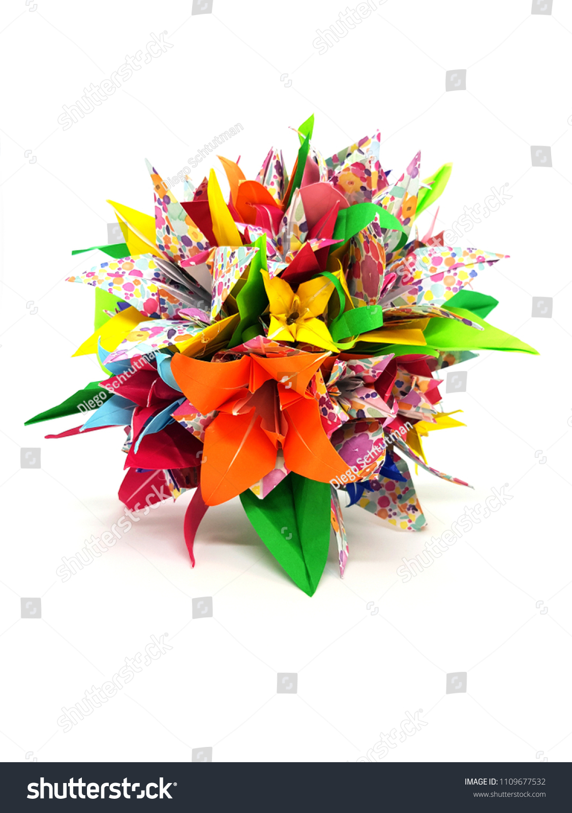 Photograph Colorful Origami Flower Arrangement Stock Photo Edit Now
