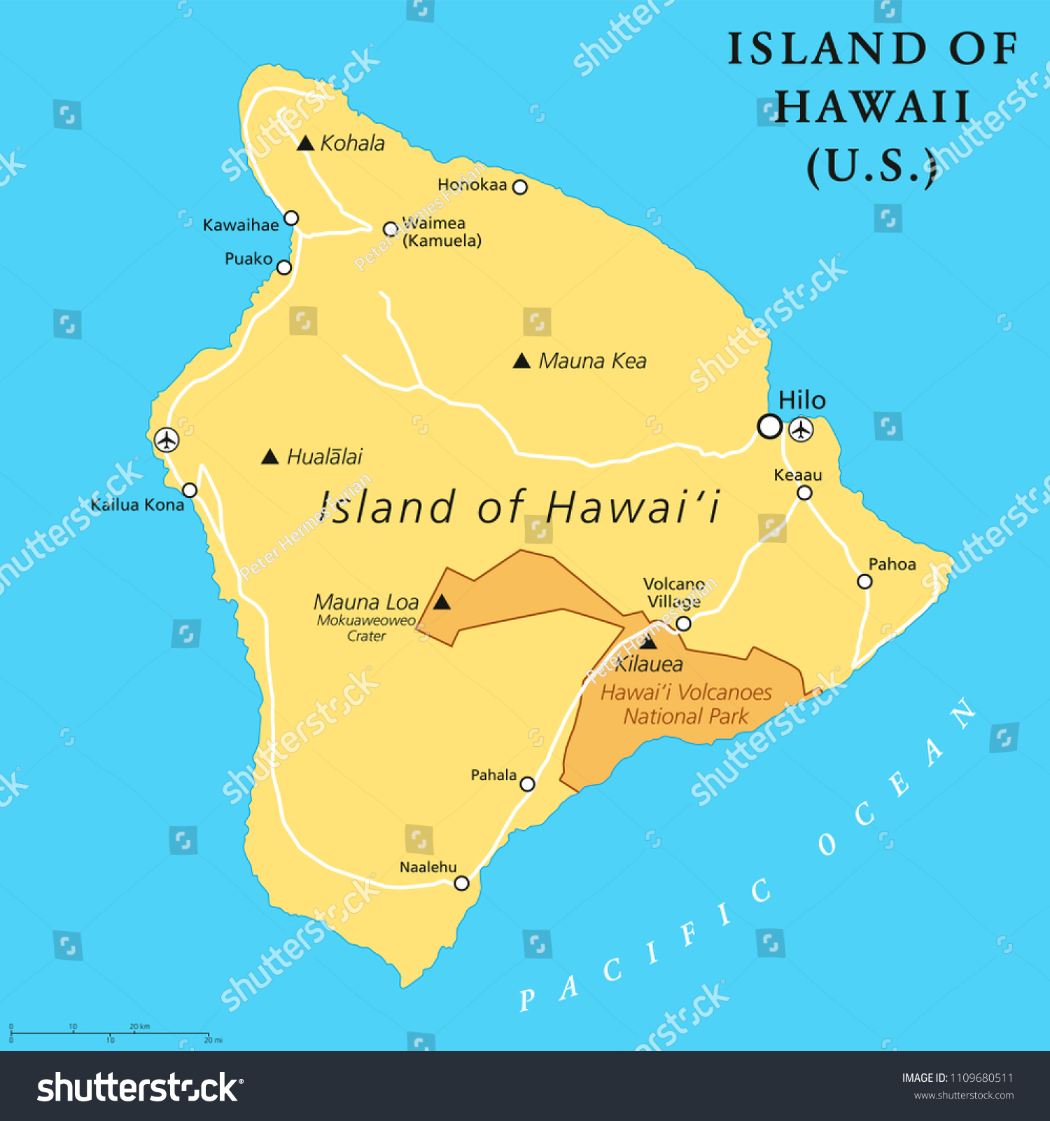 Picture of: Vector De Stock Libre De Regalias Sobre Island Hawaii Political Map Largest Island1109680511