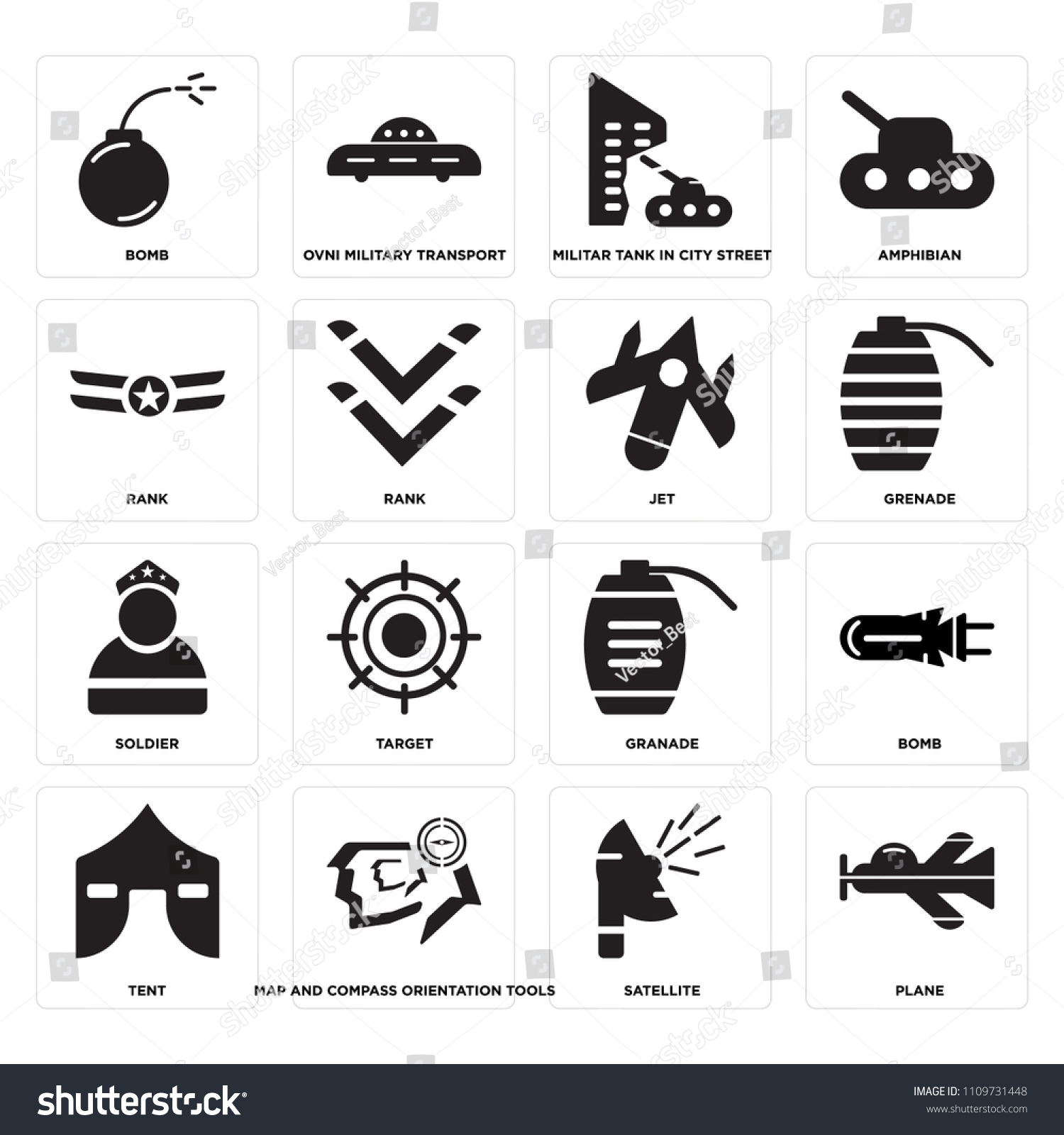Set 16 Icons Such Plane Satellite Stock Vector Royalty Free