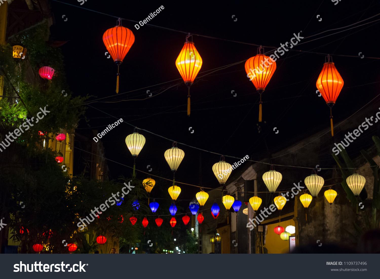 Handmade Silk Lanterns Hung Above Street Stock Photo Edit Now