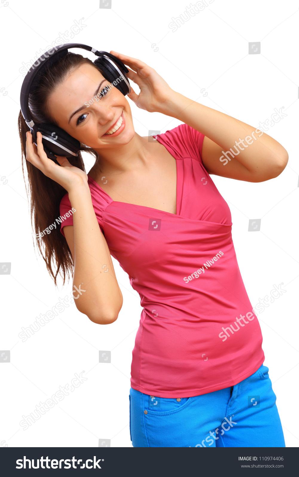 happy smiling girl dancing listening music stock photo edit now