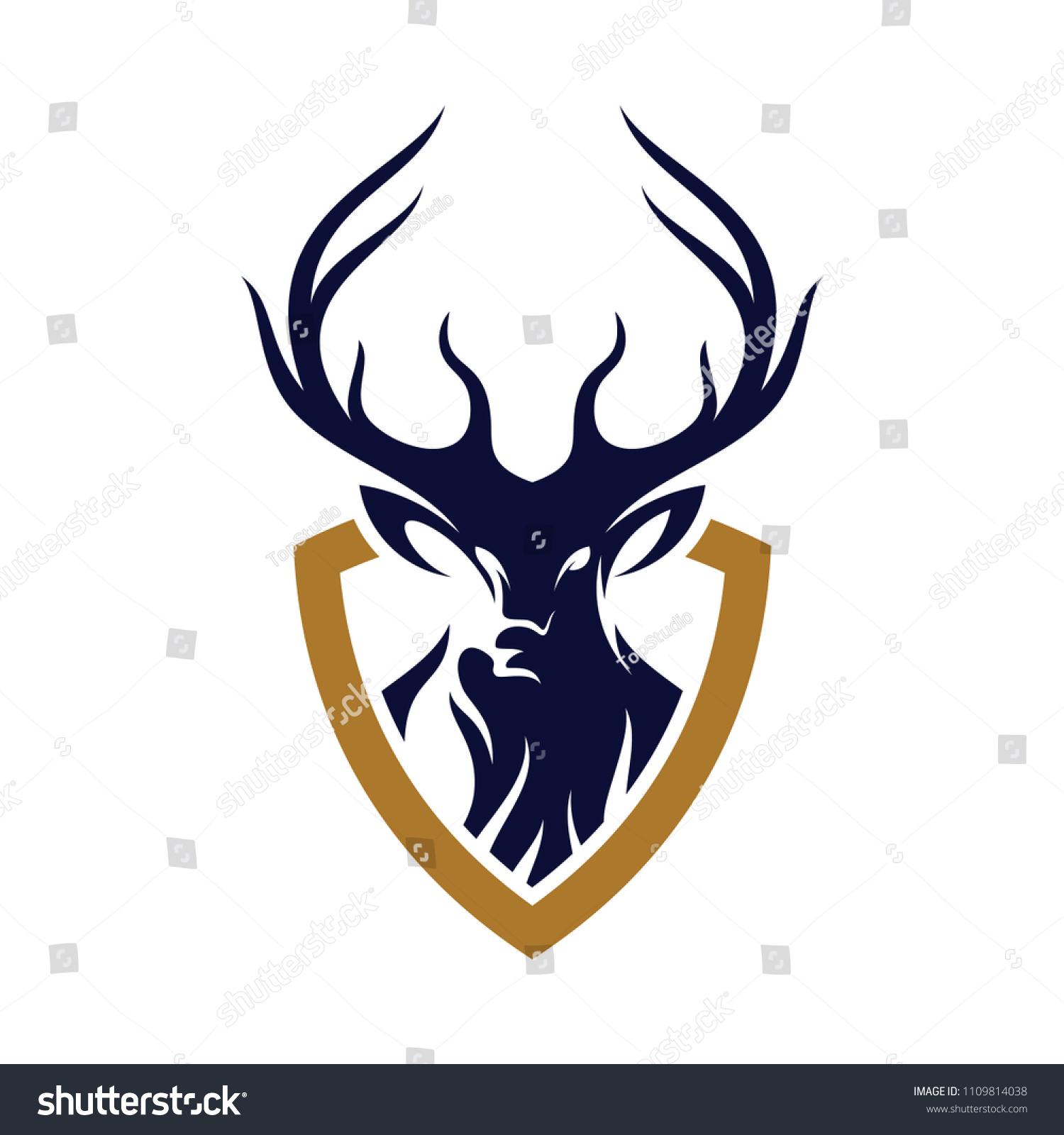 Deer Hunt Logo Vector Elegant Head Design Template