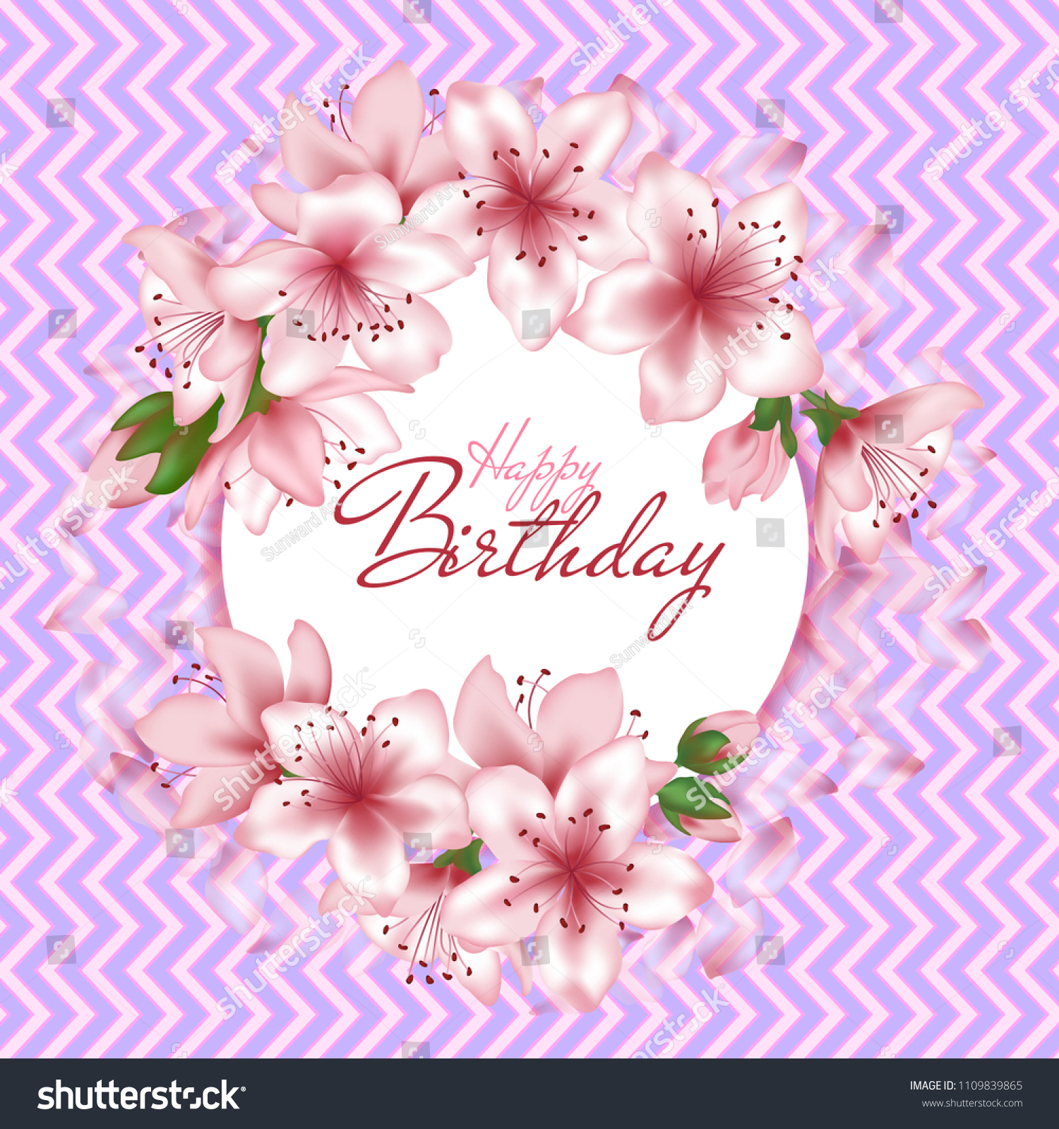 Happy Birthday Vector Card Japanese Cherry Stock Vector Royalty