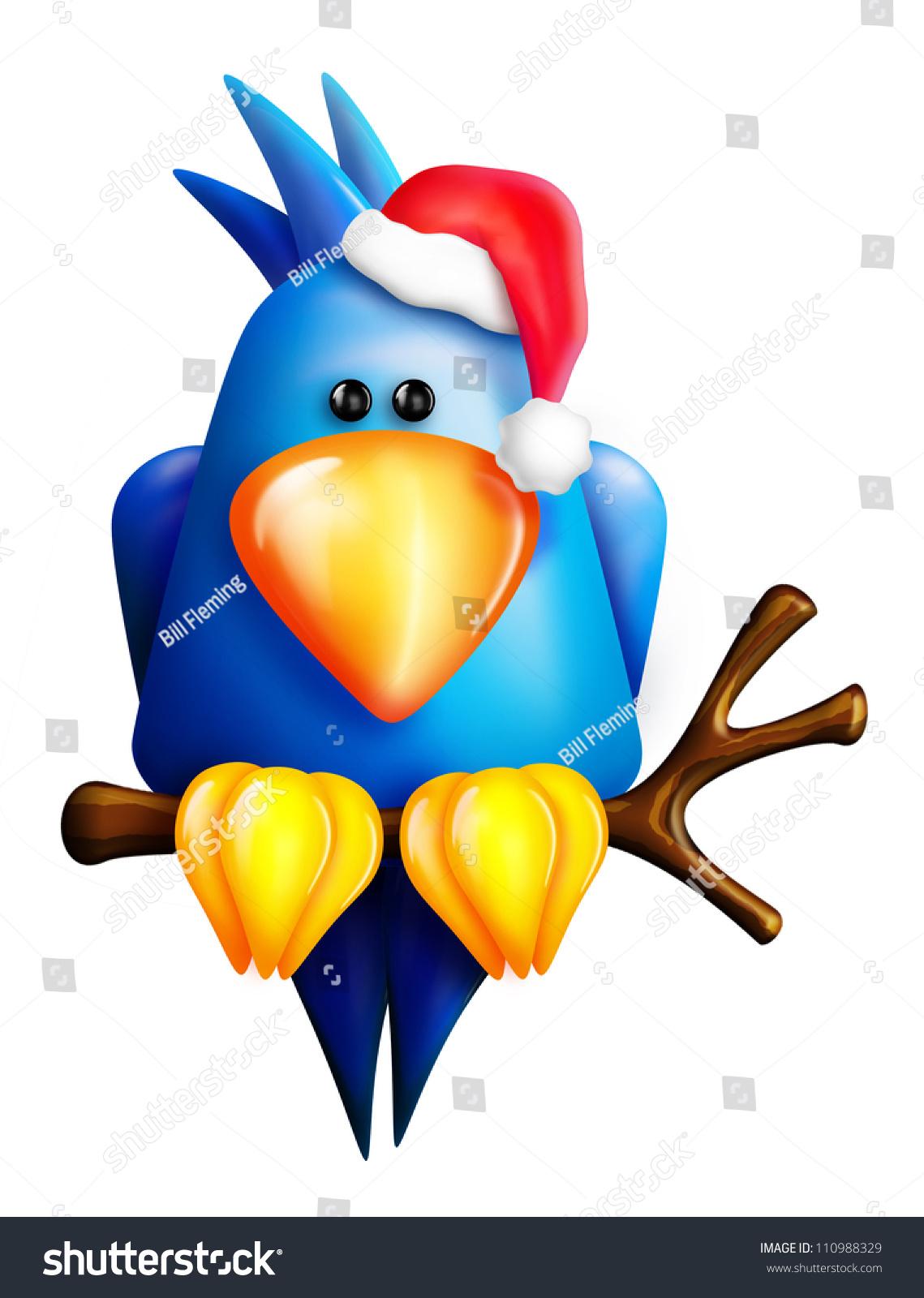 39420fb58d268 Cartoon Christmas Blue Bird Santa Hat Stock Illustration 110988329 ...