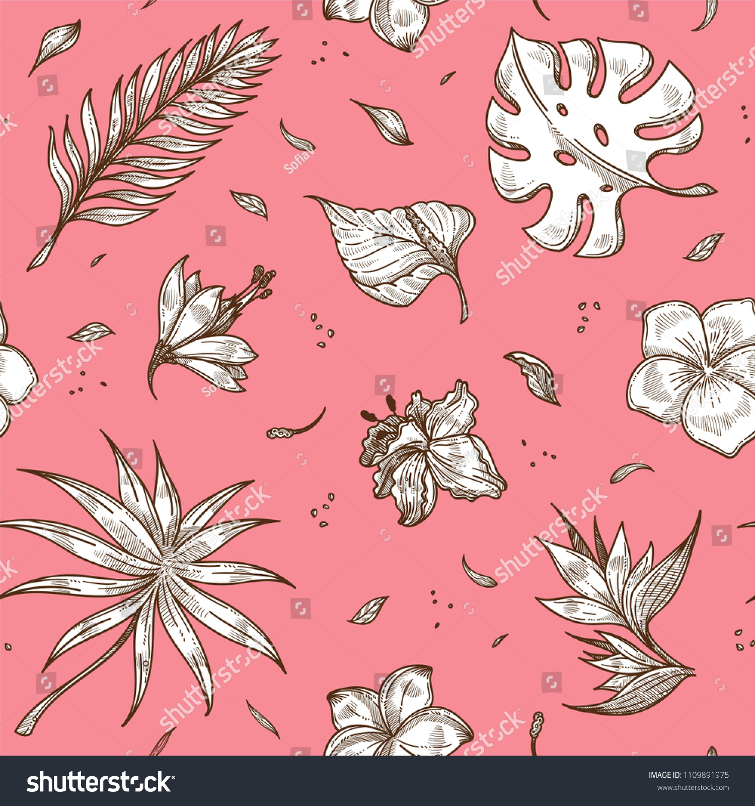 Tropical Plants Sketches On Pink Backdrop In Seamless Pattern