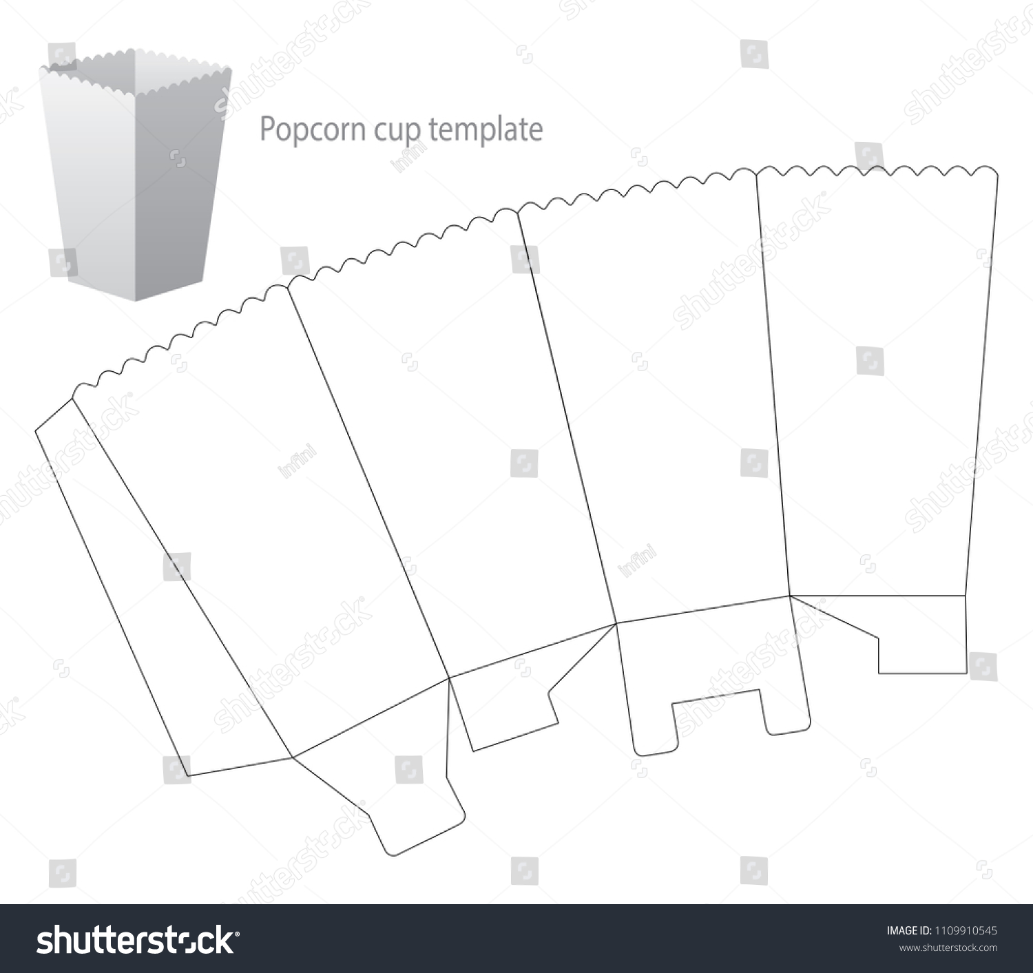 popcorn box template draw vector illustration stock vector royalty