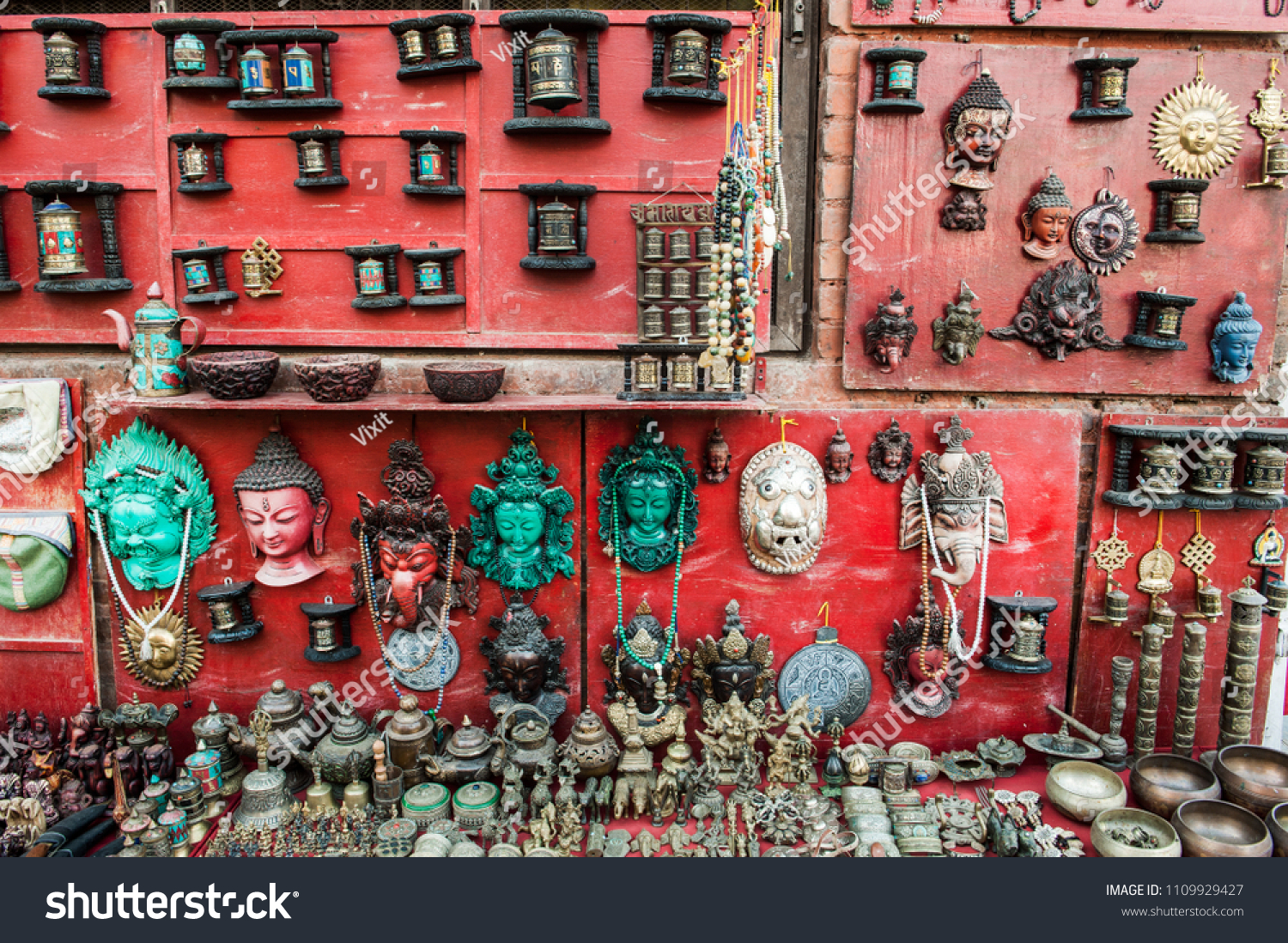 Colorful Tradition Wooden Masks Handicrafts On Stock Photo Edit Now