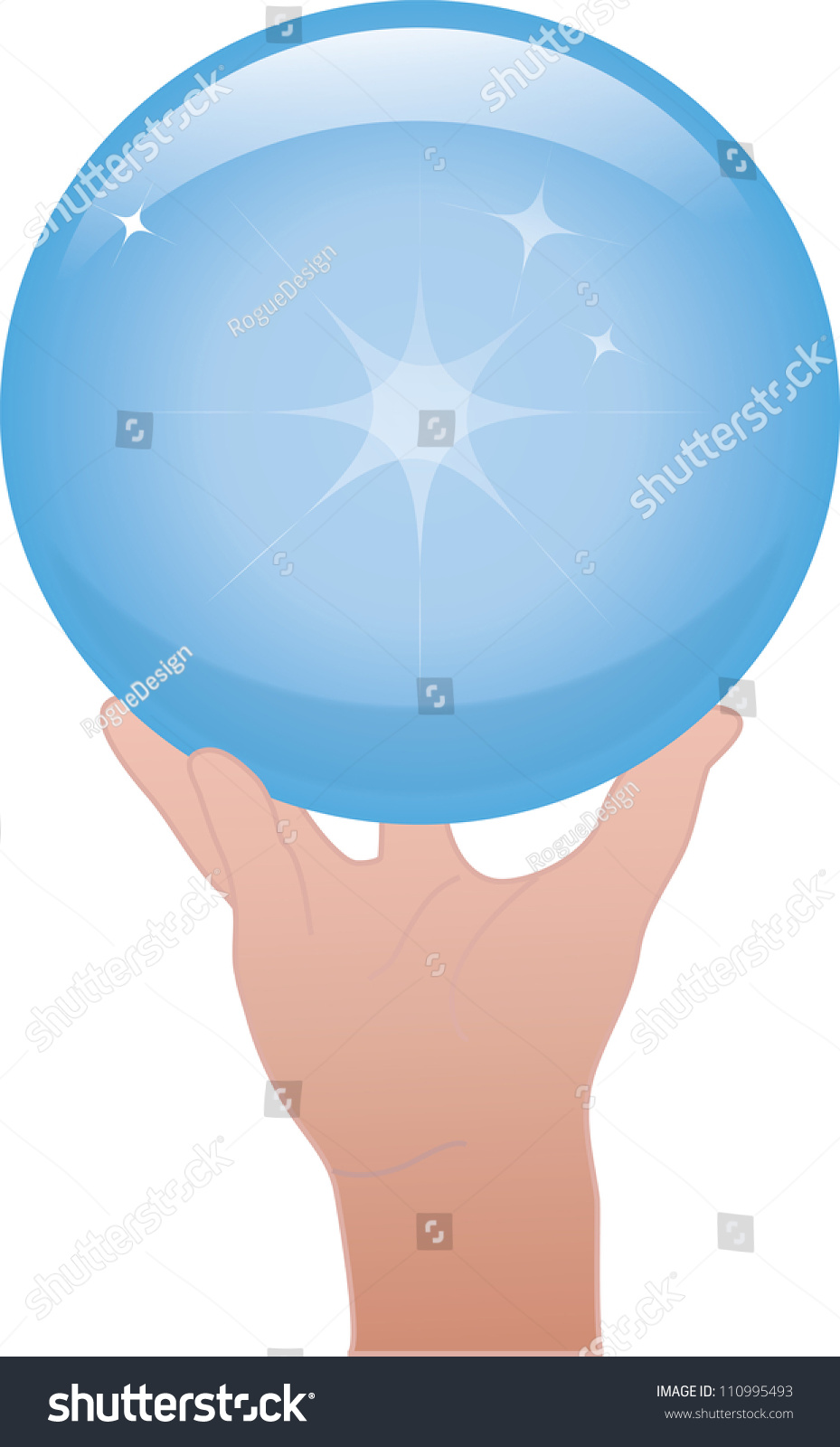 Clip Art Illustration Of A Hand Holding A Crystal Ball Or ...