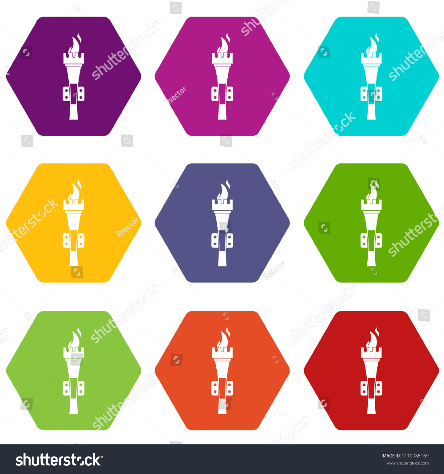 Torch Icon Set Many Color Hexahedron Isolated On White Illustration