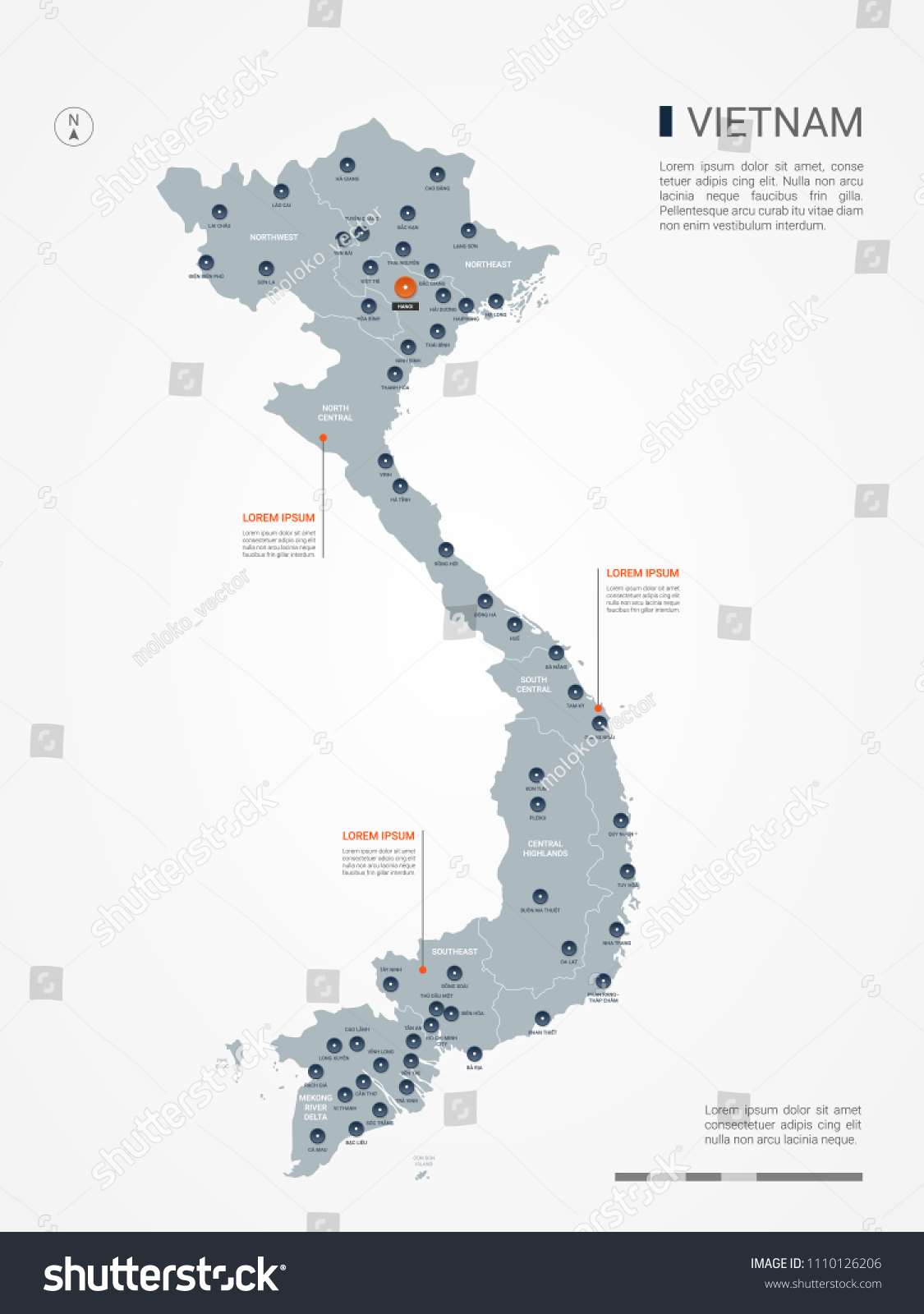 Vietnam Map Borders Cities Capital Hanoi Stock Vector (Royalty Free ...
