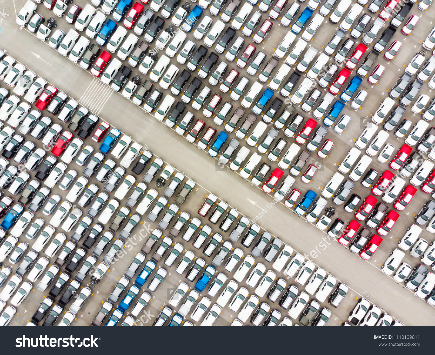 Aerial top view photo from flying drone, New Cars produced Several times a year at industrial estate for import export around in the world #1110139811