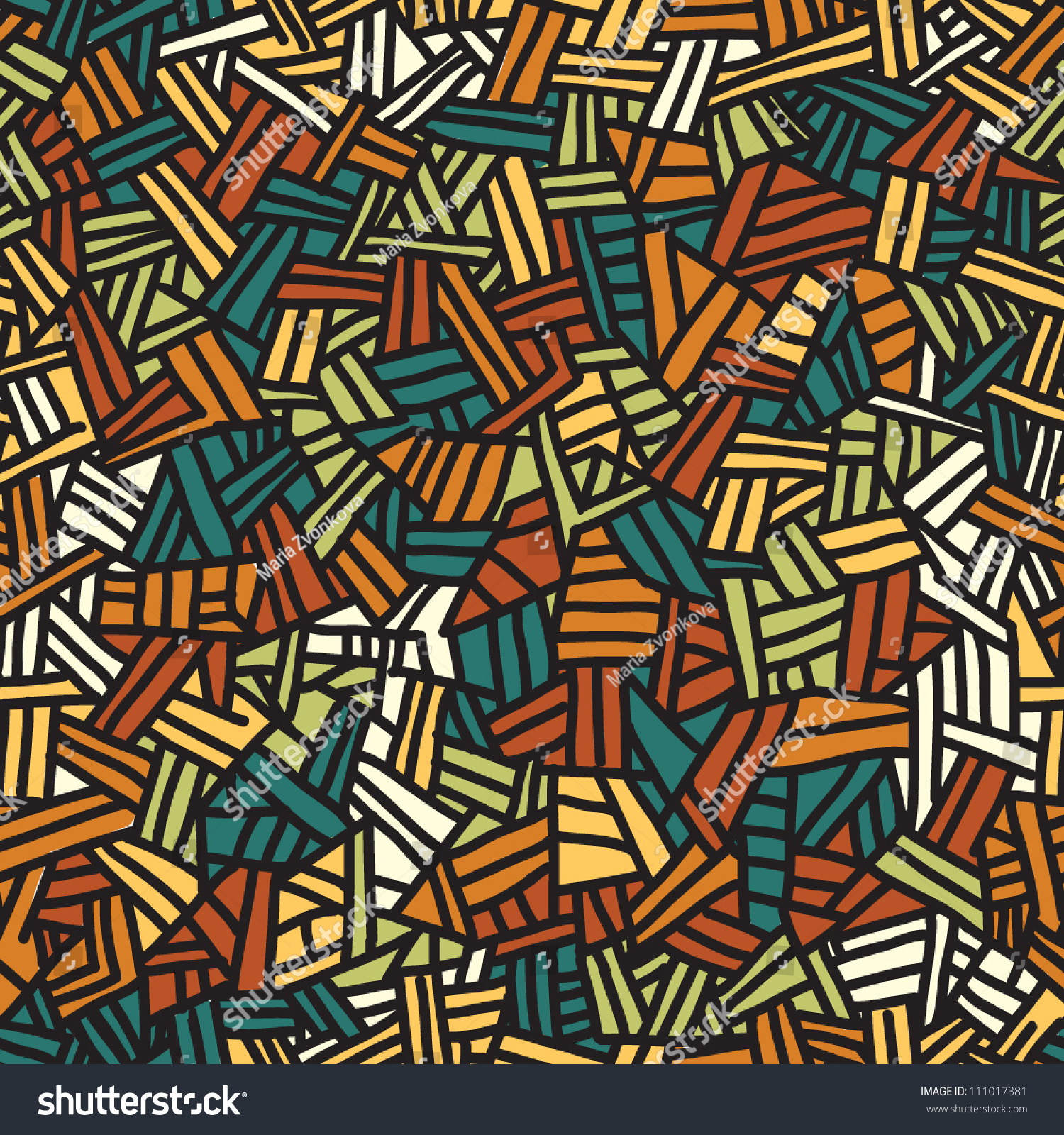 Seamless Stained Glass Pattern Endless Handdrawn Stock Vector