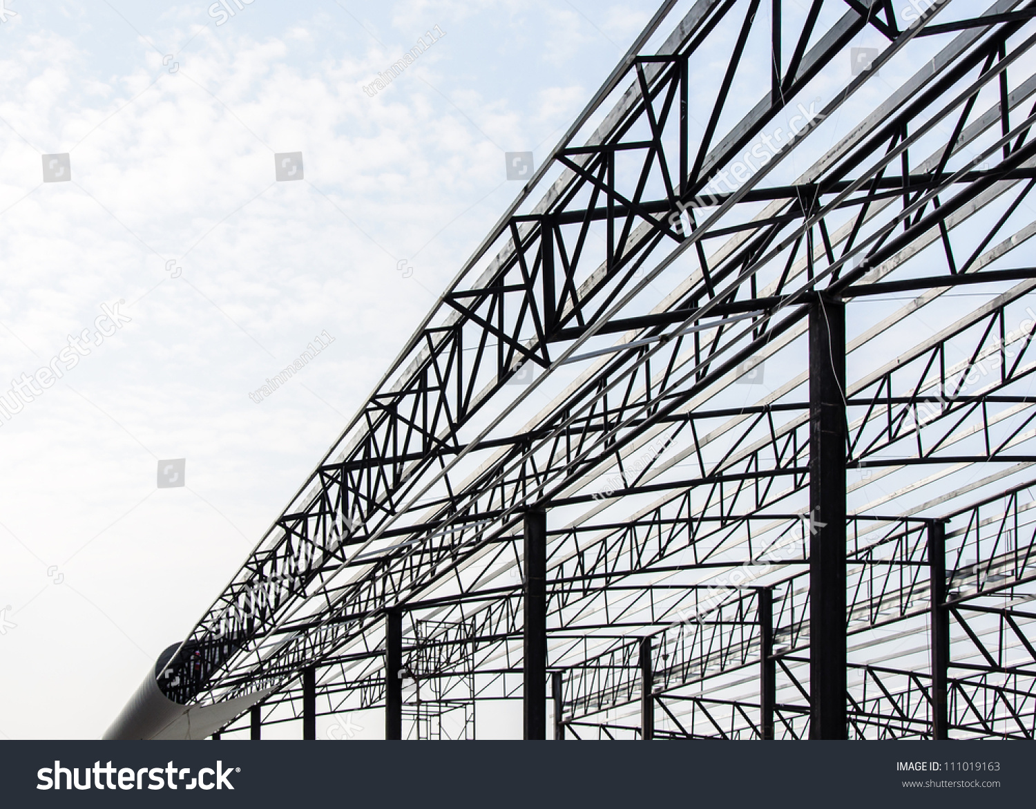 steel frame of the factory roof in construction