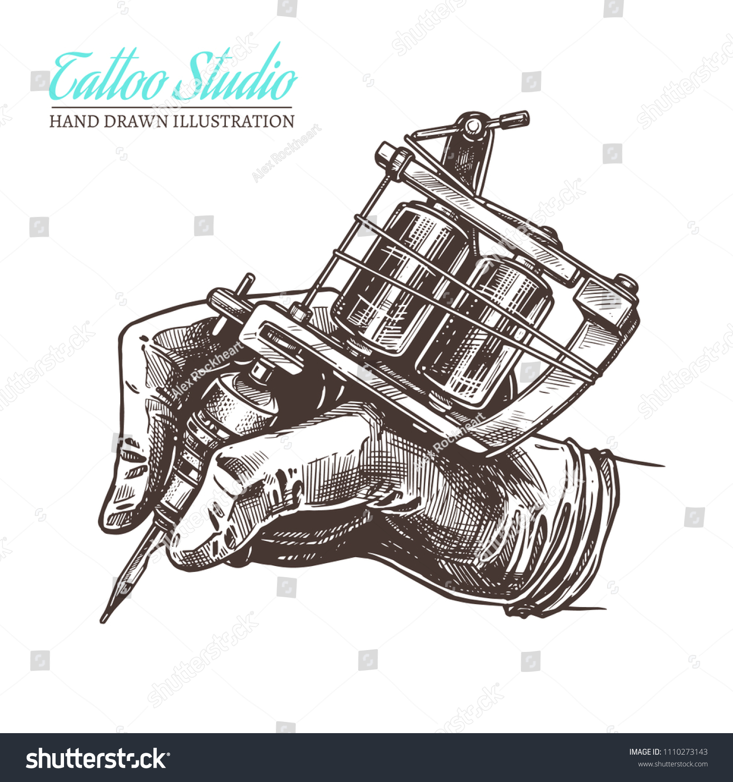 Sketch Vector Illustration Hand Tattoo Machine Stock Royalty Diagram Also As Well Of With Drawn Art For Tattooist