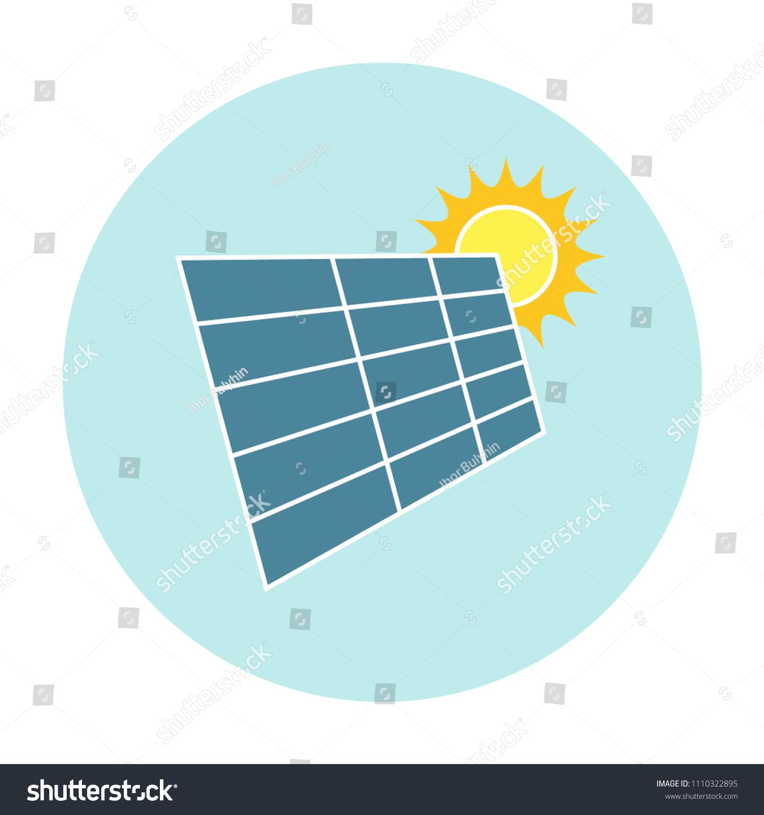 Solar Panel Under Heat Sun Flat Stock Vector Royalty Free