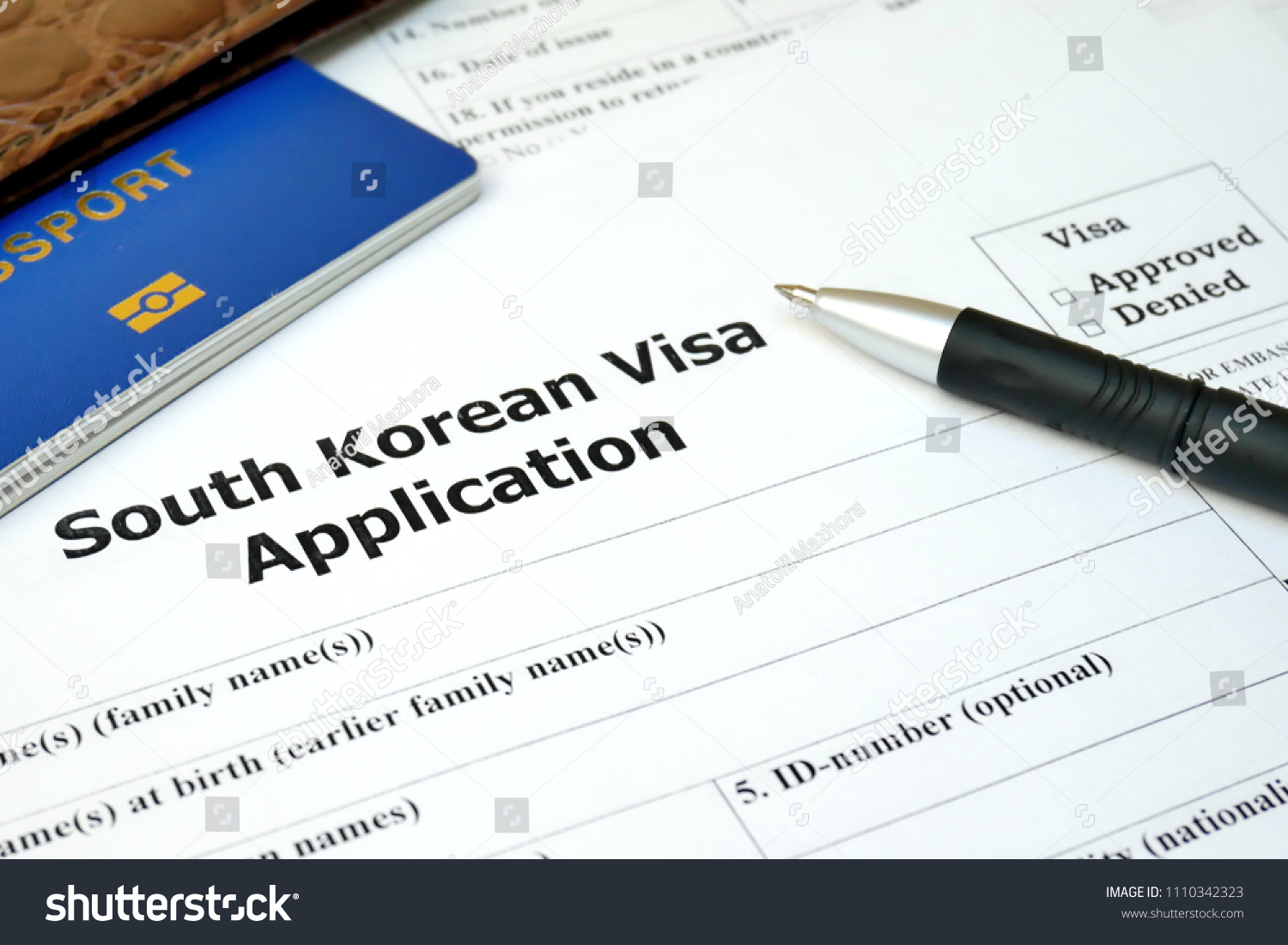 South Korean Visa Application Form Passport Stock Photo Edit Now 1110342323