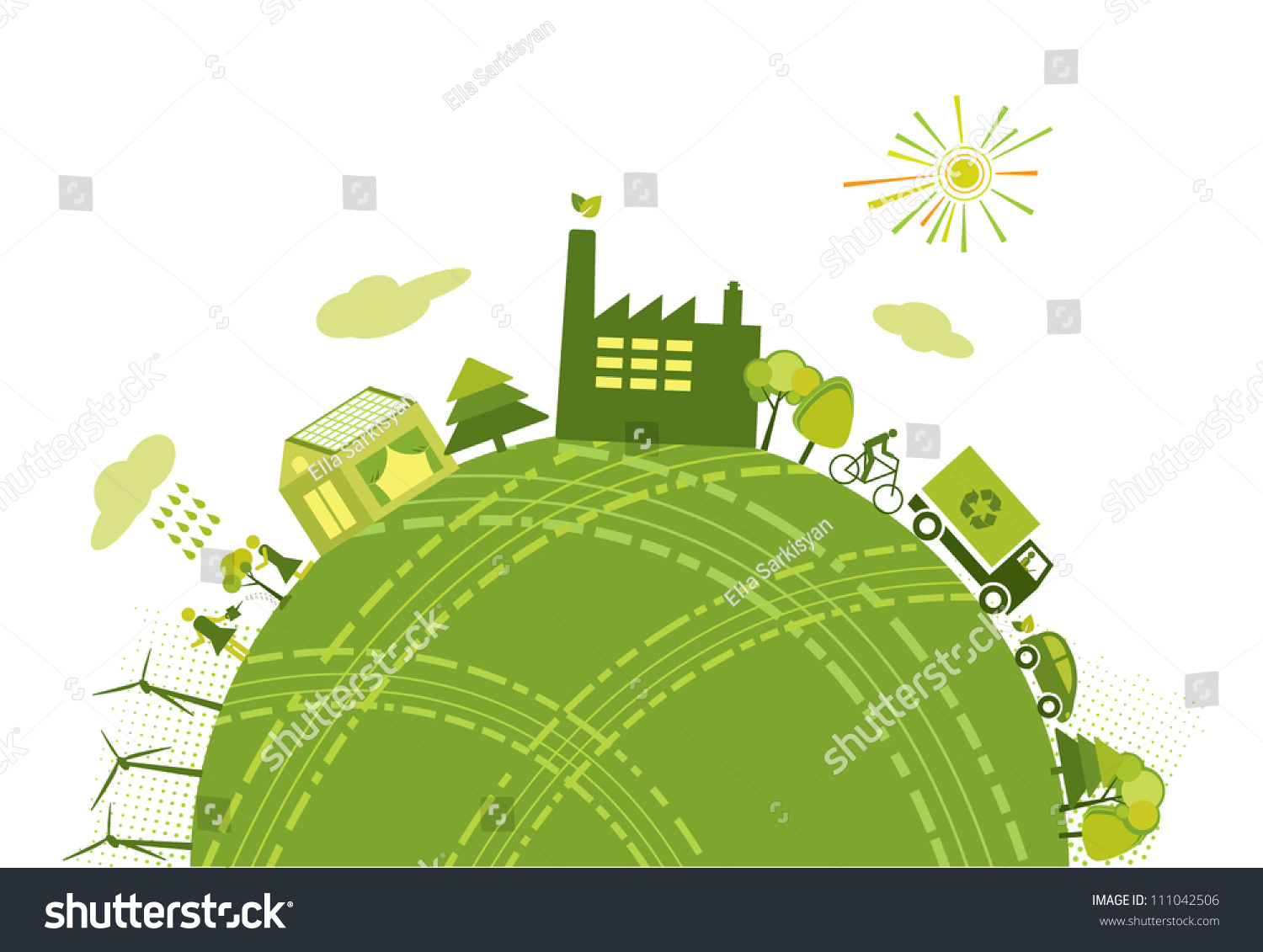 Green Worldplanet Concept Stock Vector Royalty Free 111042506