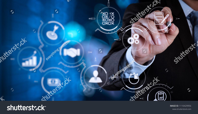 Business Process Management Workflow Automation Diagram Stock Photo