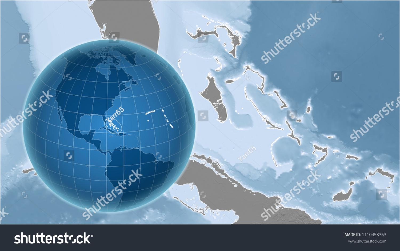 Bahamas Elevation Map.Royalty Free Stock Illustration Of Bahamas Globe Shape Country