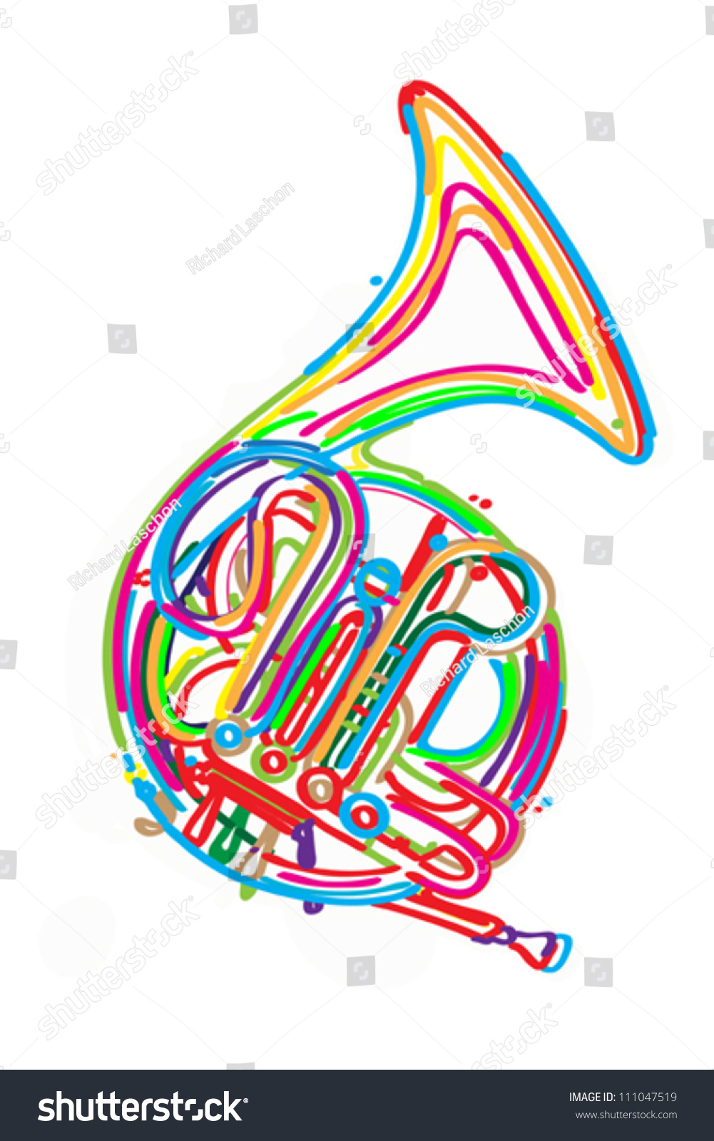Stylized French Horn Against White Background Stock Vector ...