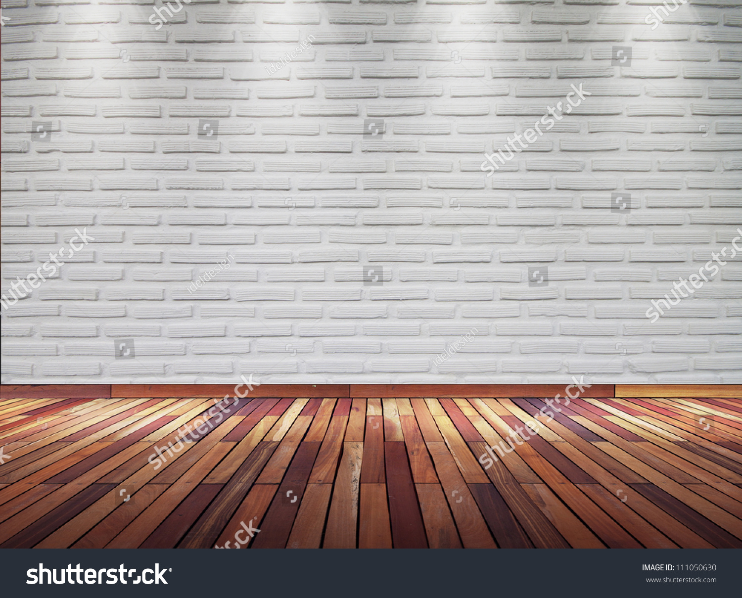 White Brick Wall Lights : Empty Old White Brick Wall With Spot Lights And Wooden Floor Stock Photo 111050630 : Shutterstock