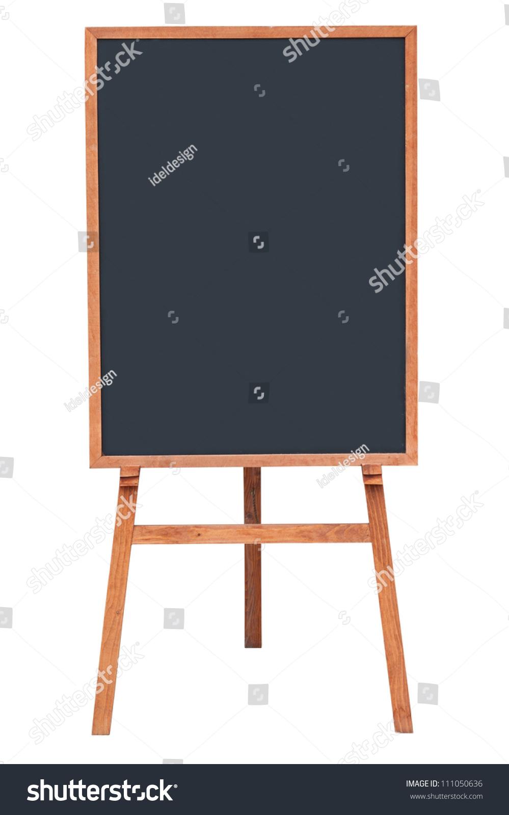 Blank Menu Chalkboard Wooden Frame Isolated Stock Photo