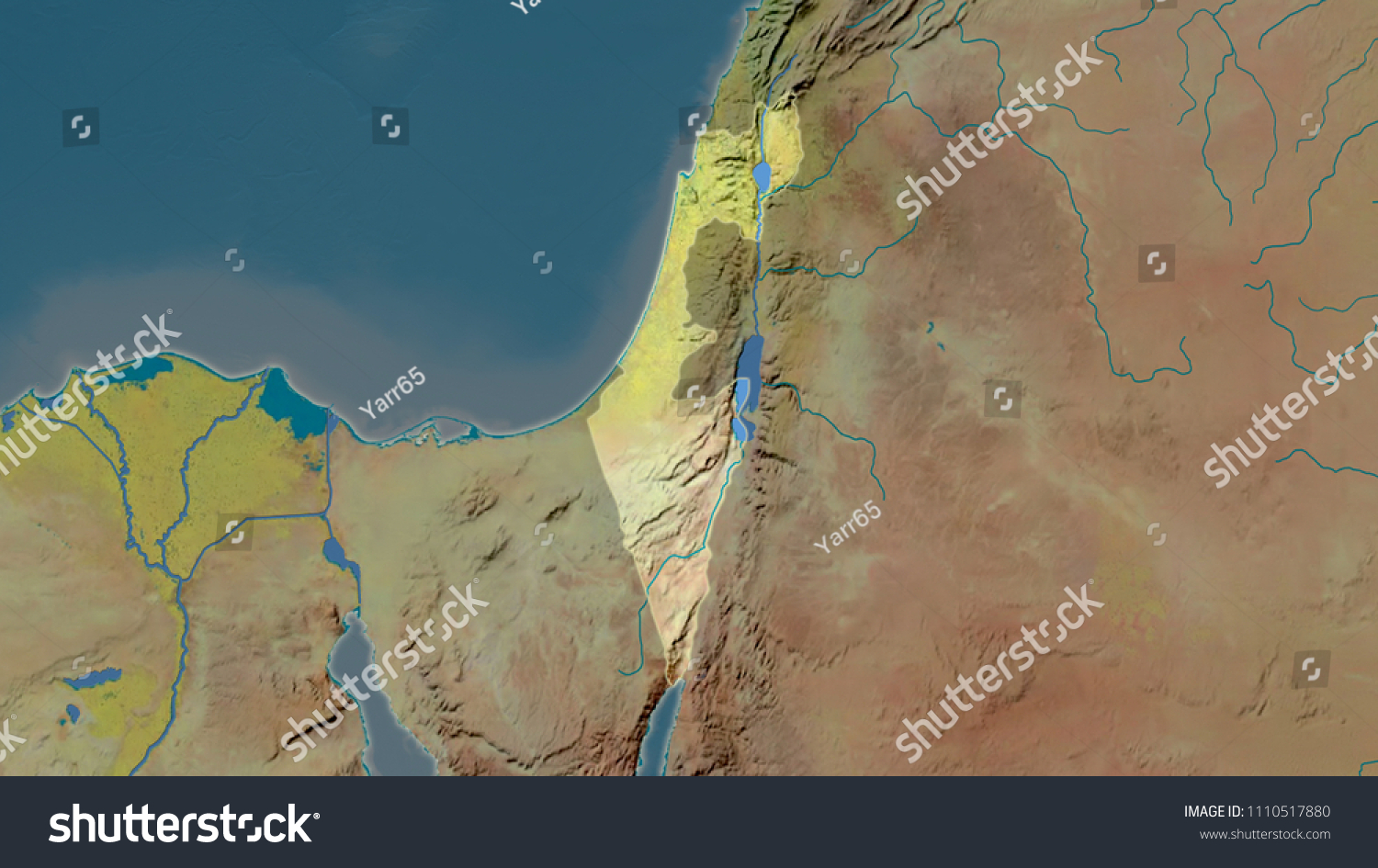 Israel Area Map Azimuthal Equidistant Projection Stock Illustration