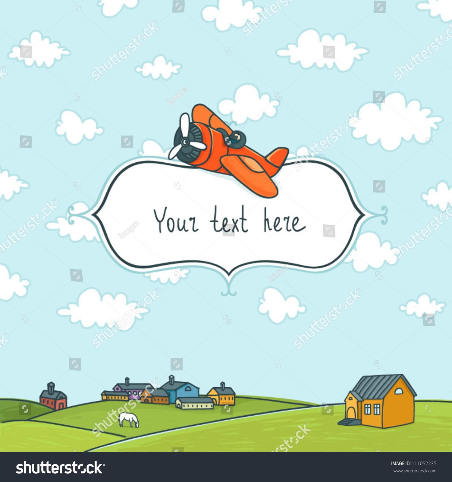 Frame Cartoon Plane Sky Landscape Stock Vector (Royalty Free ...
