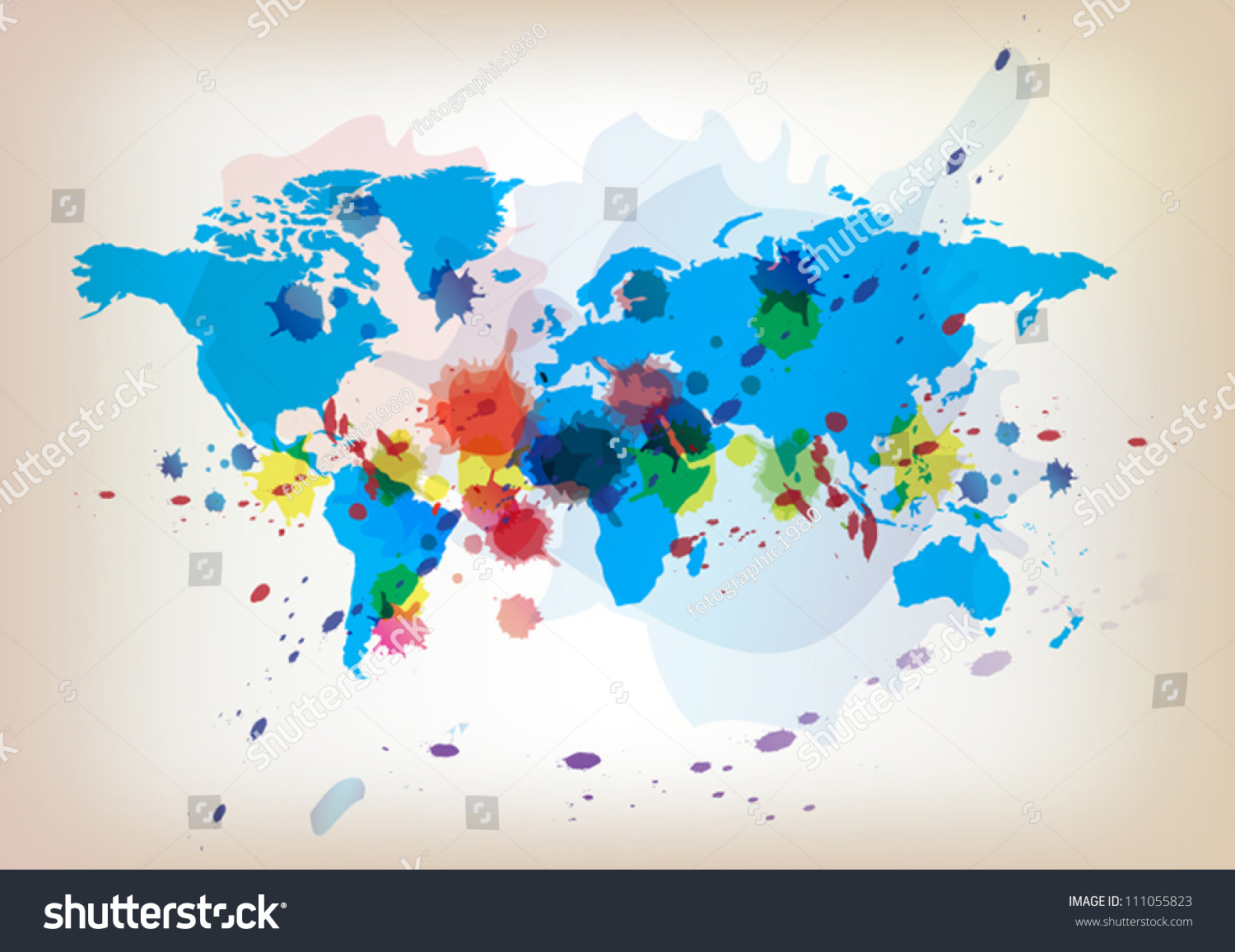 Vector world map background watercolor paint vector de vector world map background watercolor paint vector de stock111055823 shutterstock gumiabroncs Image collections