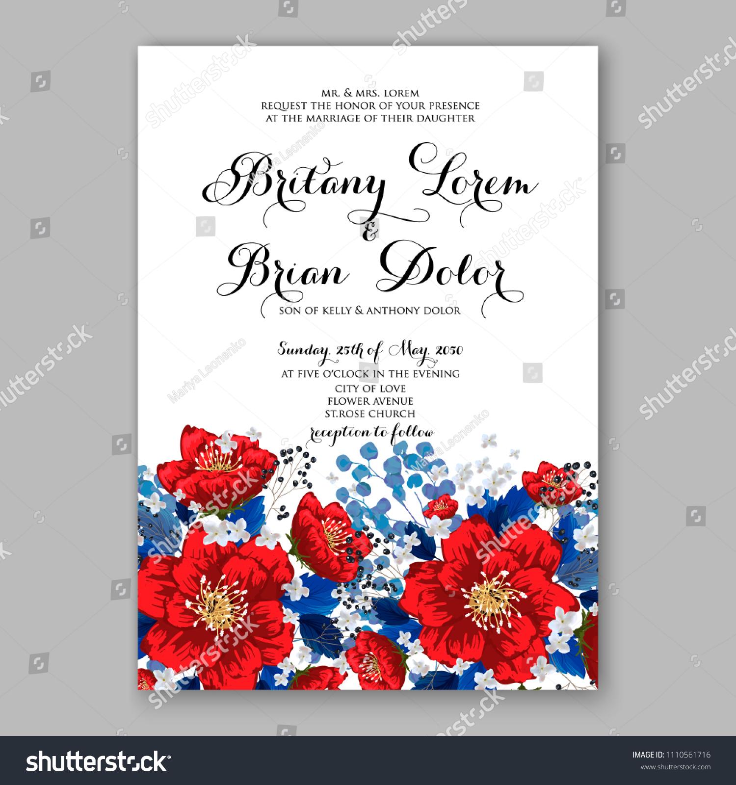 Floral Wedding Invitation Vector Card Template Stock Vector (Royalty ...