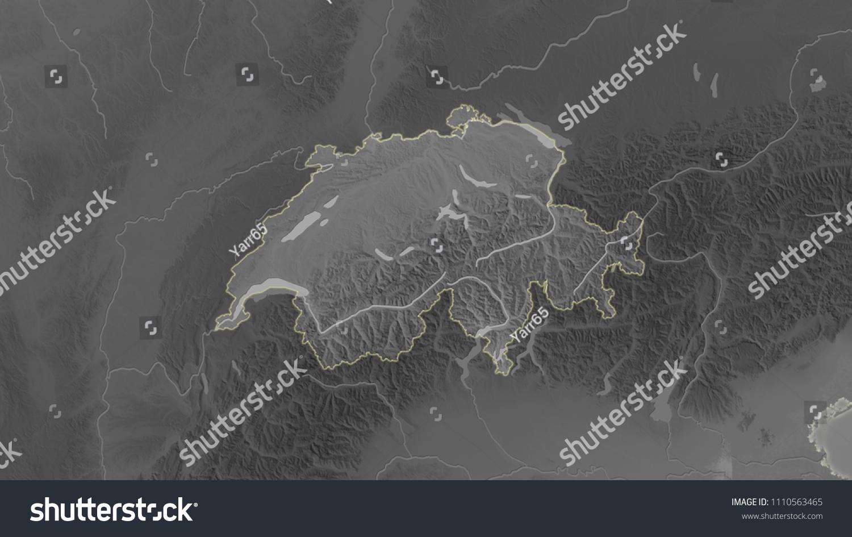 Switzerland Elevation Map.Royalty Free Stock Illustration Of Switzerland Area Map Azimuthal