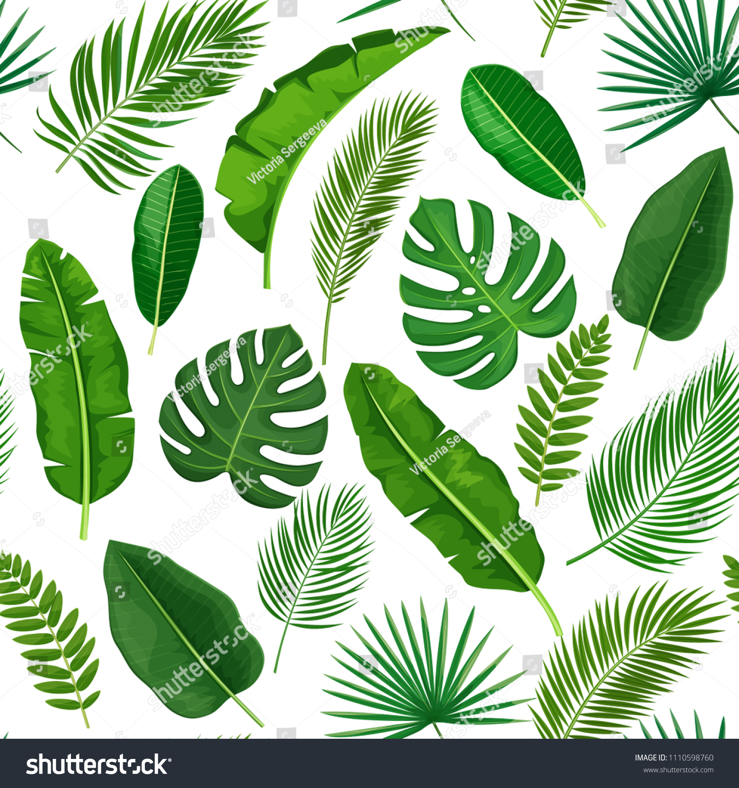 Vector Tropical Leaves Seamless Pattern Jungle Exotic Banana Leaf, Philodendron,