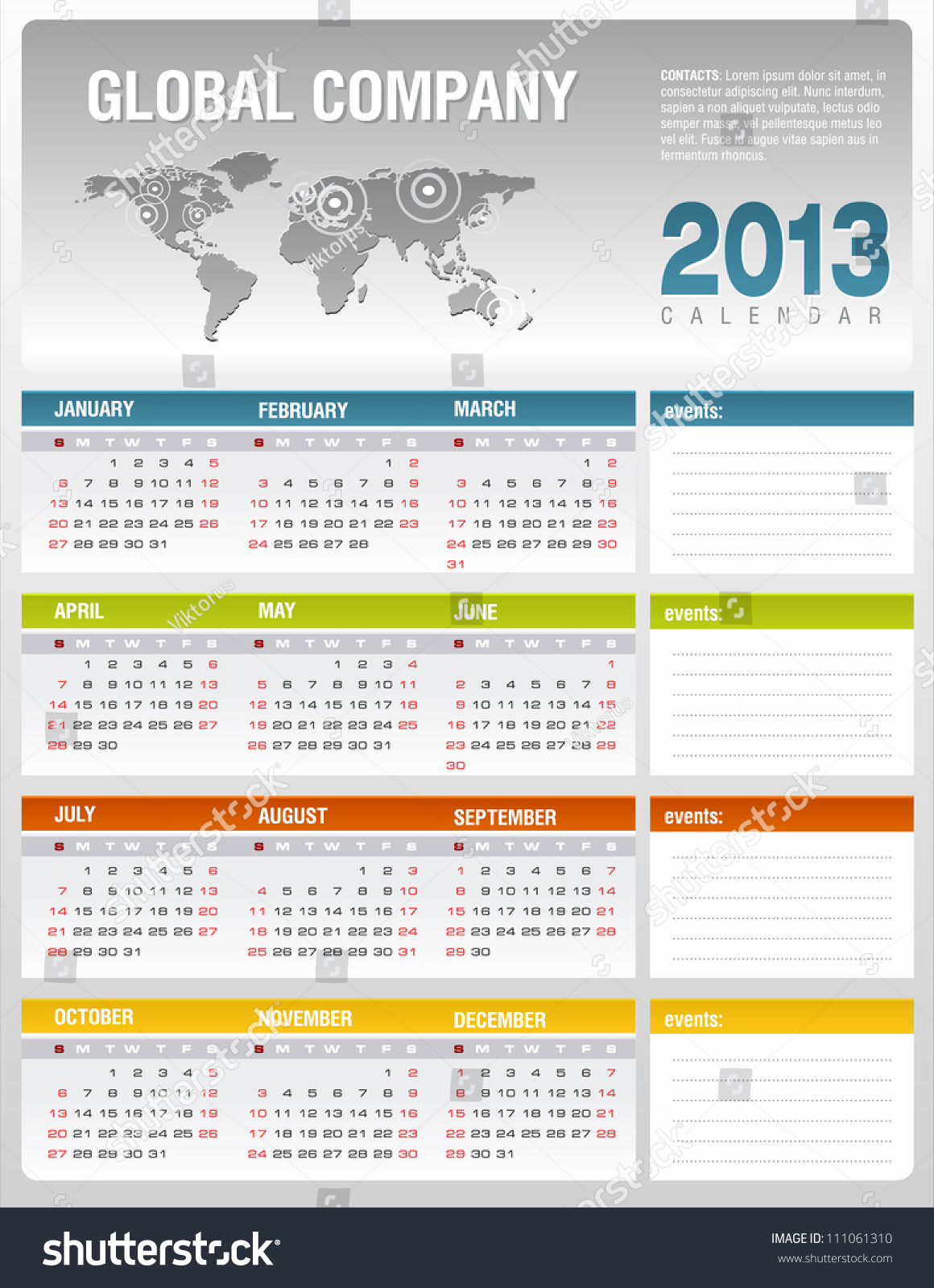 Corporate Calendar Template : Corporate calendar template vector stock