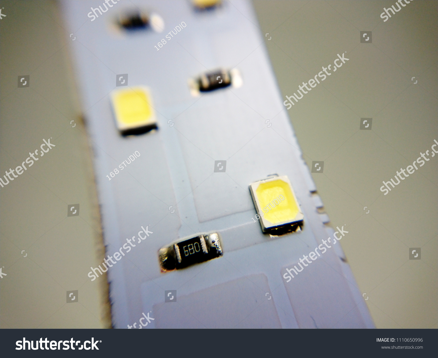 Close Pcb Board Led Smd Lamp Stock Photo Edit Now 1110650996 Containing Electronic Components The Circuit Is Printed On Its Surface Up With White Background Light Emitting Diode