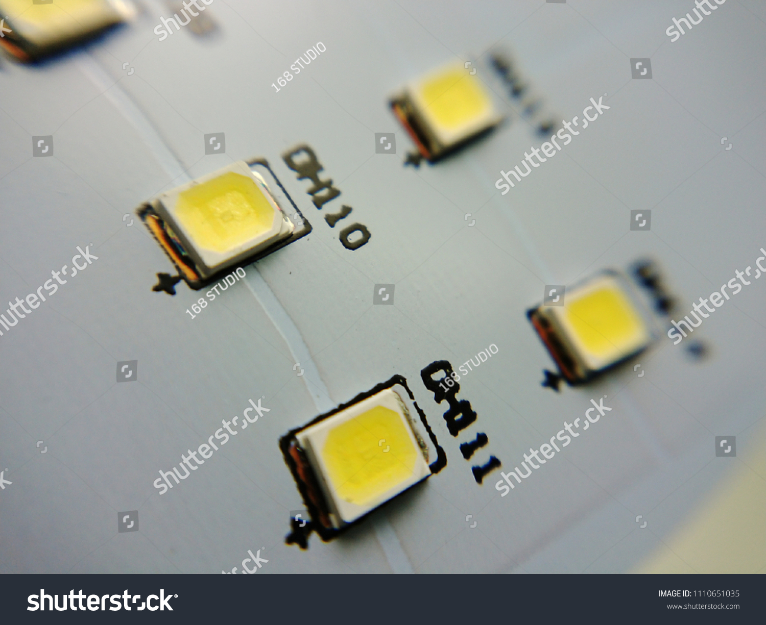 Close Pcb Board Led Smd Lamp Stock Photo Edit Now 1110651035 Light Emitting Diode Electrical Circuits Up With On White Background Surface