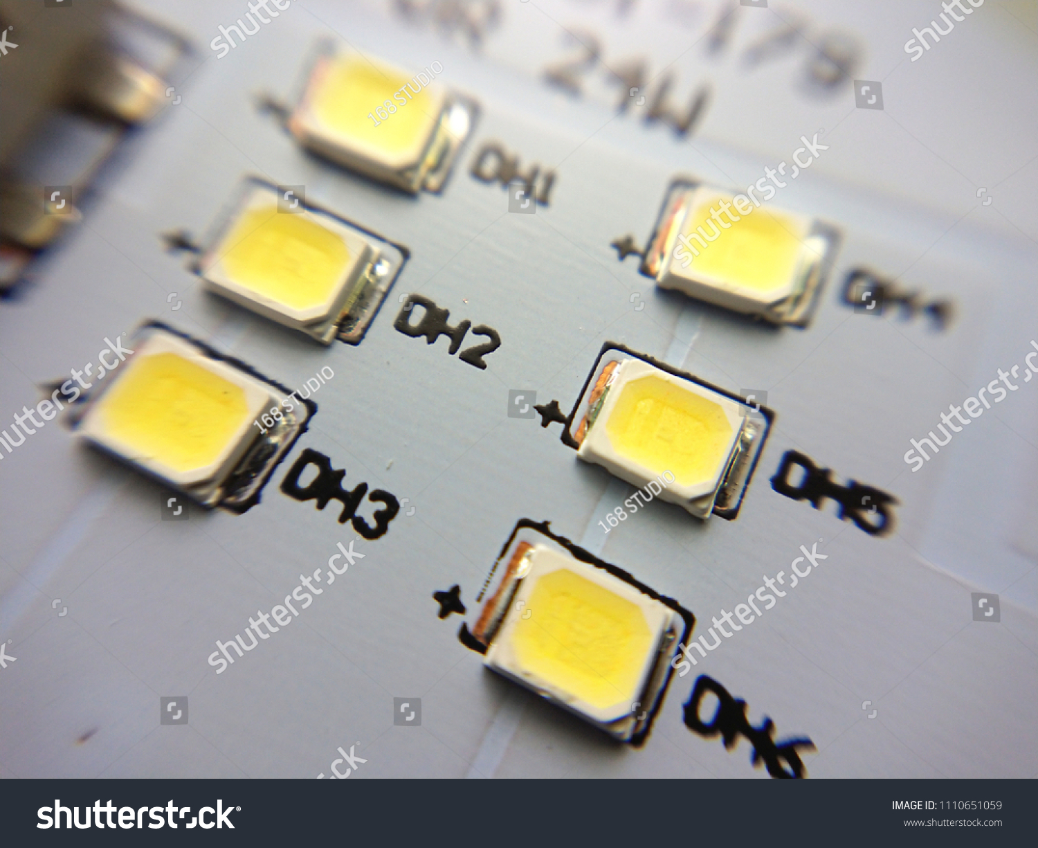 Close Pcb Board Led Smd Lamp Stock Photo Edit Now 1110651059 Containing Electronic Components The Circuit Is Printed On Its Surface Up With White Background Light Emitting Diode