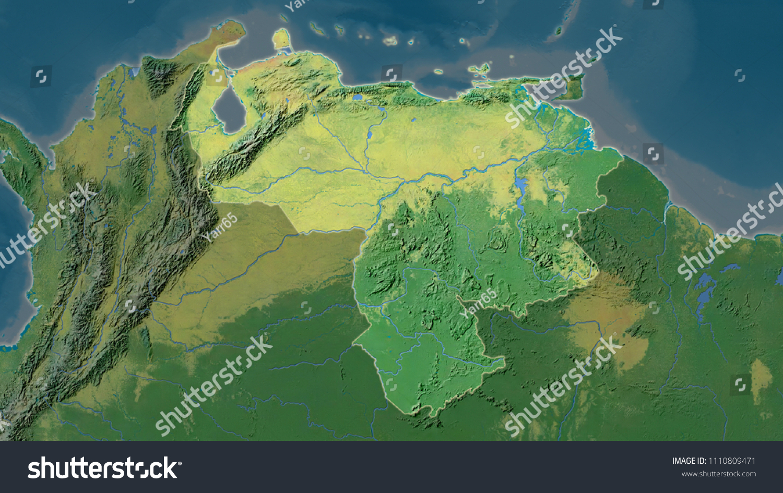 Venezuela Topographic Map.Venezuela Area Map Azimuthal Equidistant Projection Stock