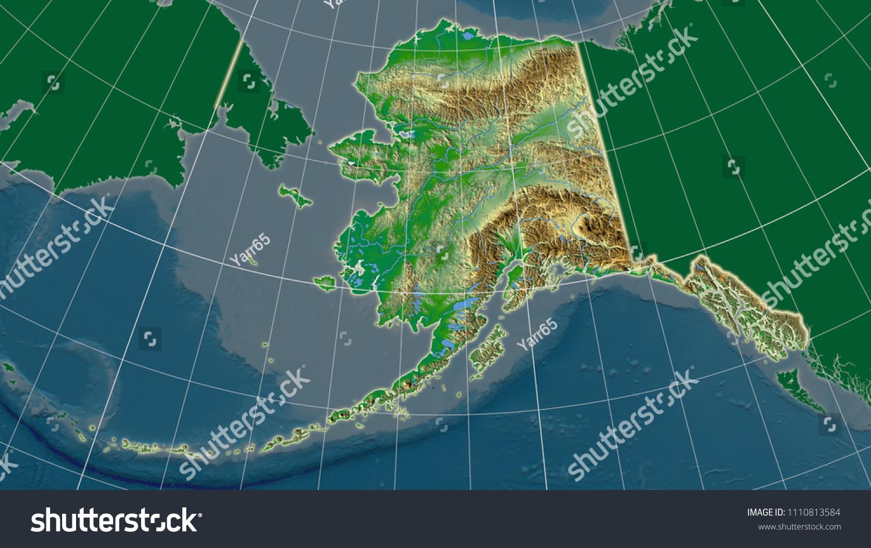 United States Alaska Area Map Azimuthal Stockillustration ...