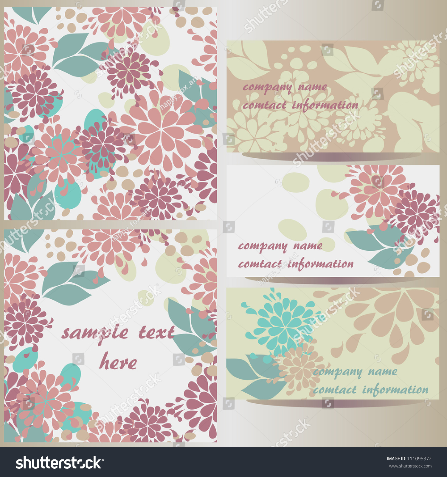 Set Vector Floral Designs Business Cards Stock Vector 111095372 ...
