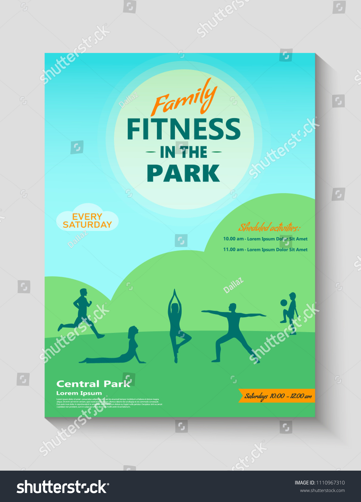 Family Fitness Park Ad Poster Flyer Stock Vector Royalty Free