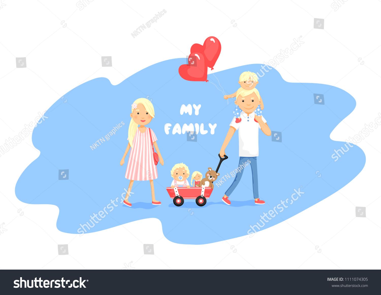 Illustration Family Cute Cartoon Style Parents Stock Vector Royalty