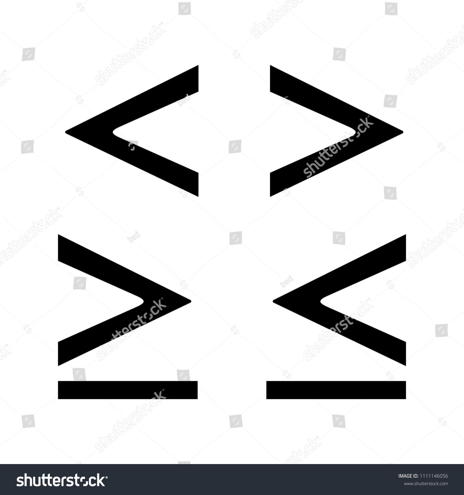 Math Symbols Glyph Icon Less Greater Stock Vector Royalty Free